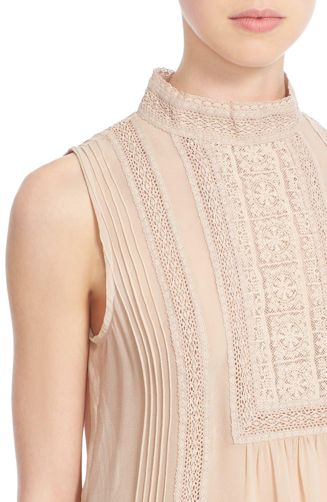Alternate Image 4  - Joie Lace Trim Sleeveless Silk Blouse