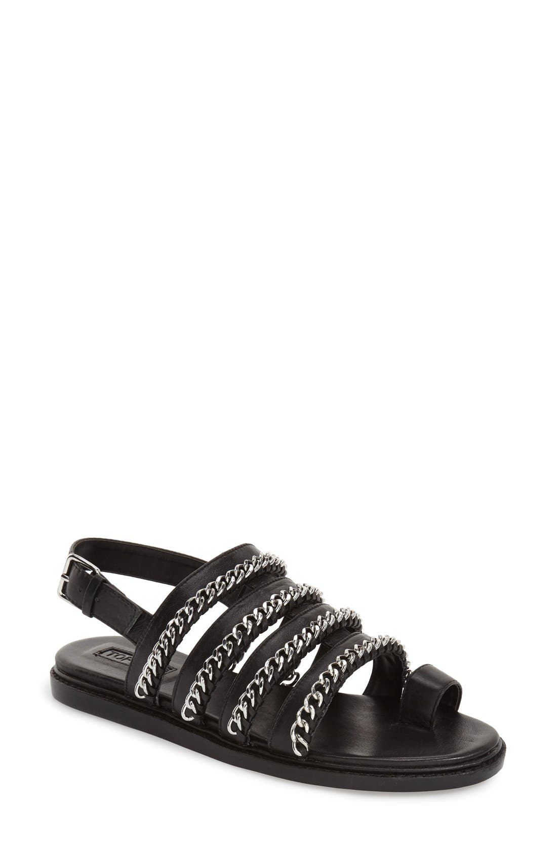 'Flying' Chain Strap Sandal,                             Main thumbnail 1, color,                             Black Leather