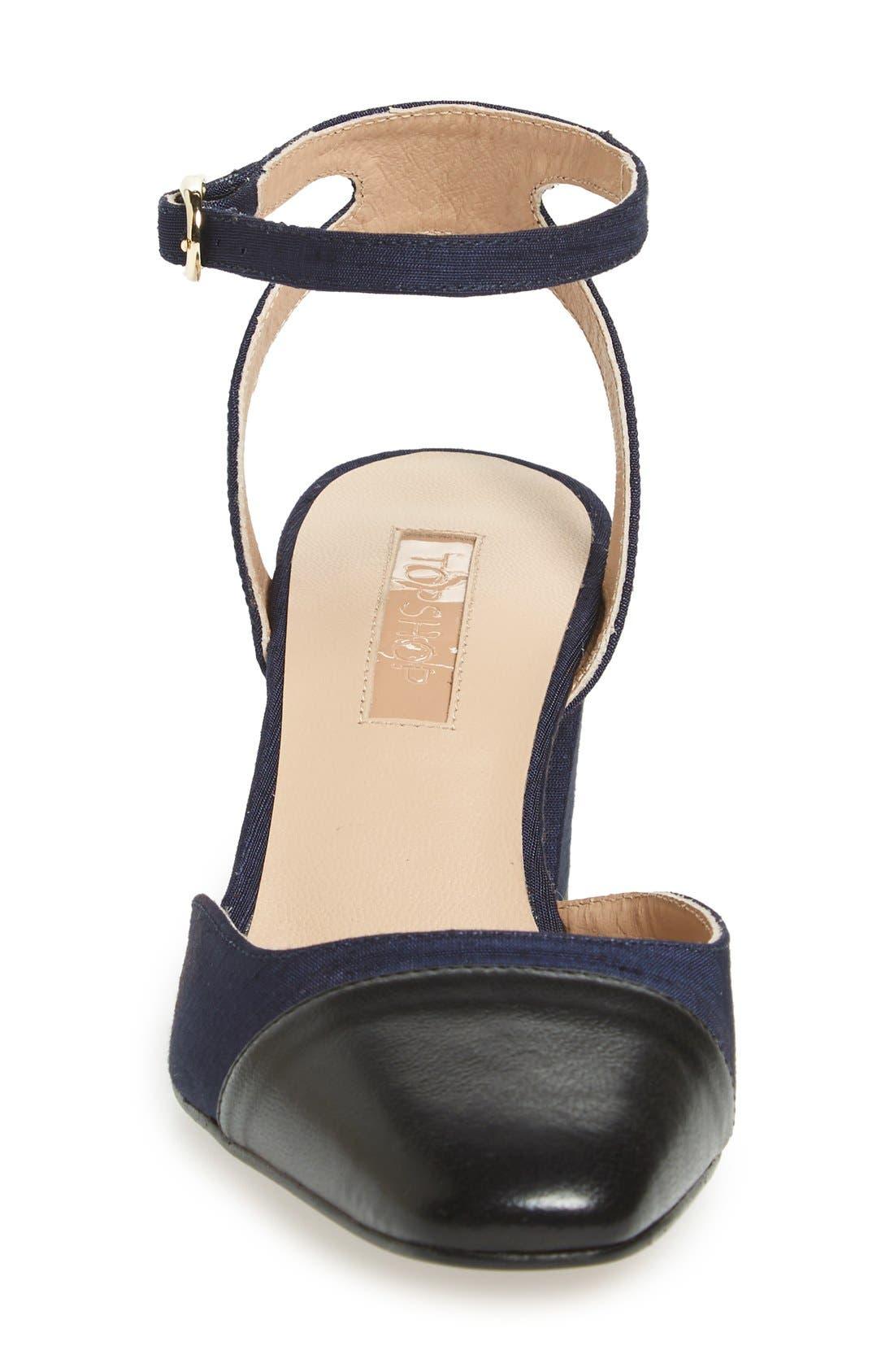 'Jewel' Cap Toe Block Heel Pump,                             Alternate thumbnail 3, color,                             Navy Blue Multi