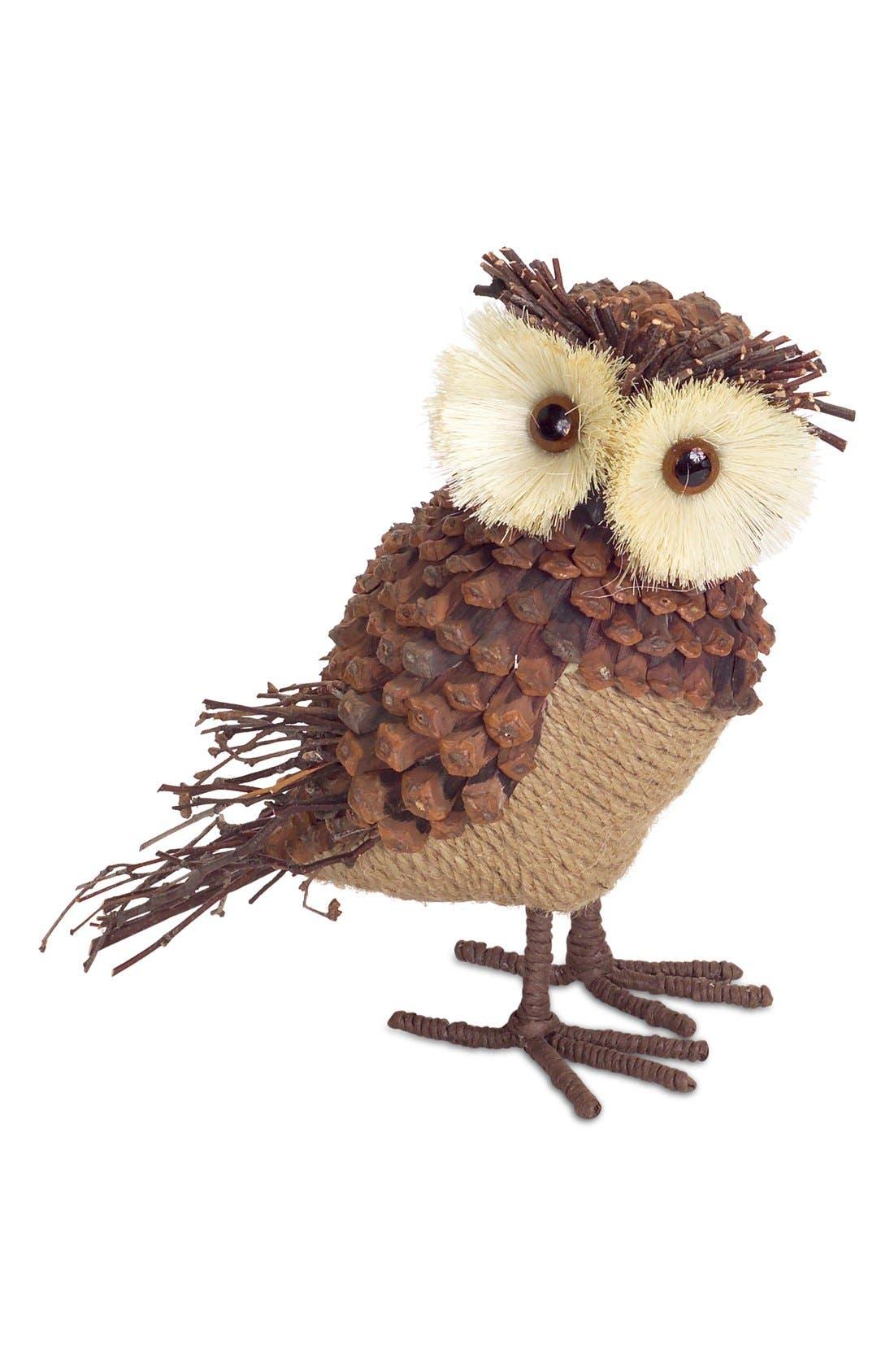 Burlap & Pinecone Owl Decoration,                         Main,                         color, Brown/ Beige