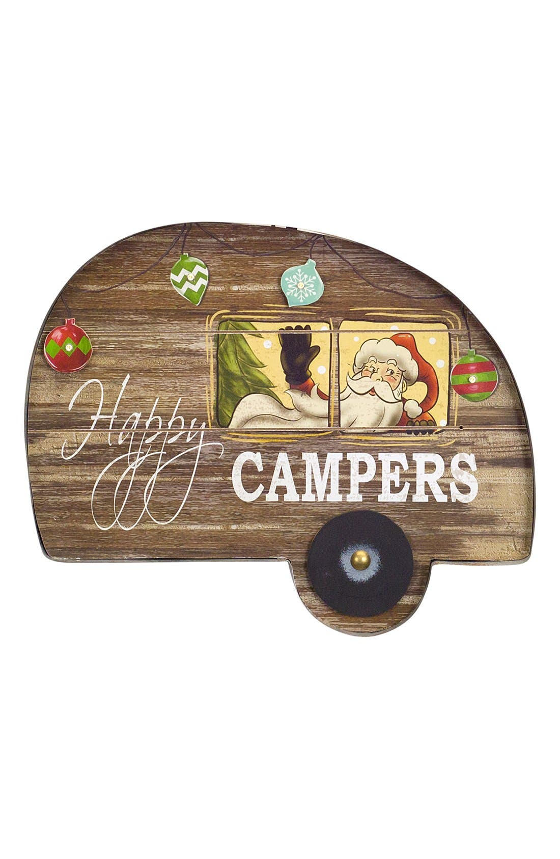 'Happy Campers' LED Wall Plaque,                             Main thumbnail 1, color,                             Brown/ Multi