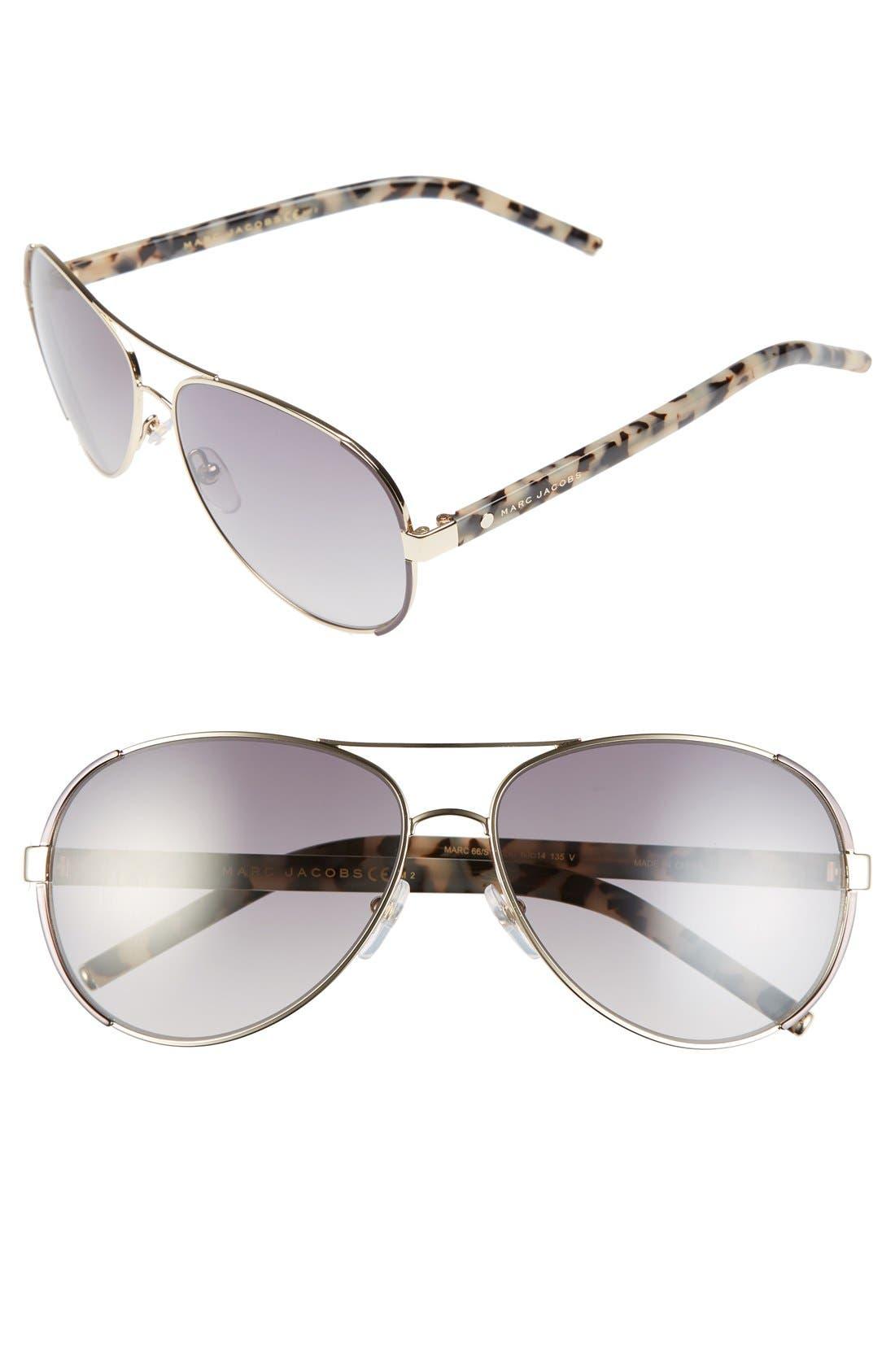 60mm Oversize Aviator Sunglasses,                         Main,                         color, Gold/ Dark Ruthenium