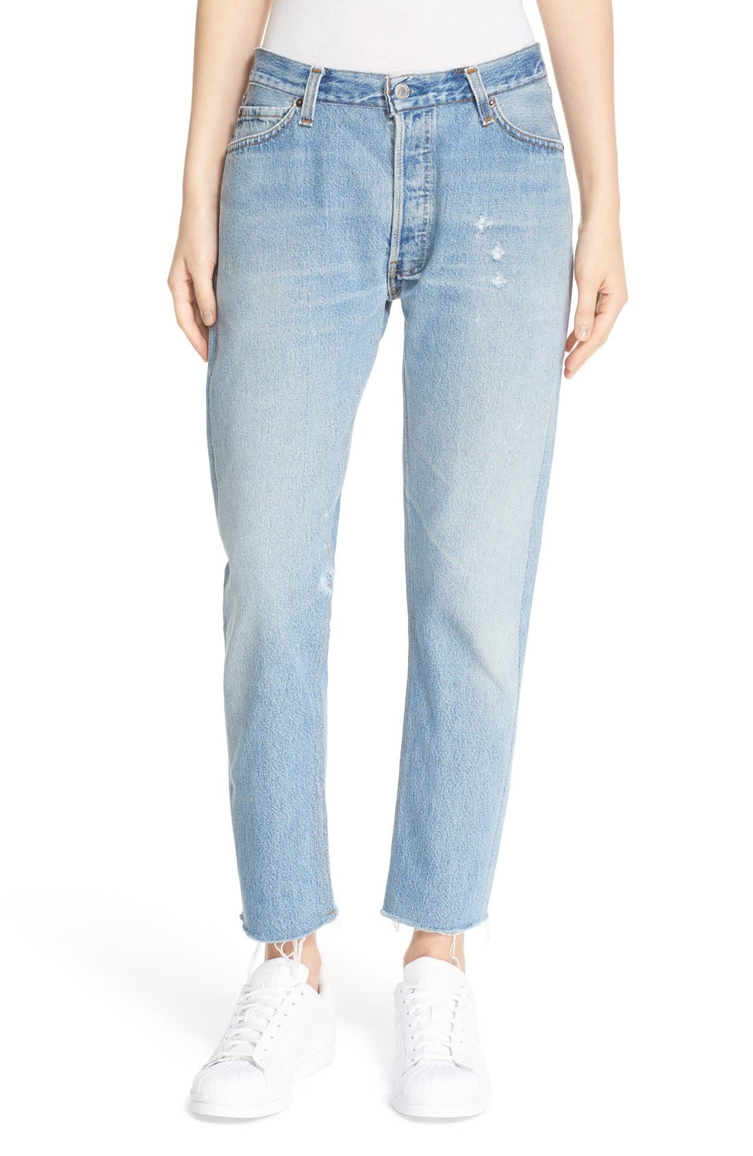 'The Relaxed Crop' Reconstructed Jeans,                         Main,                         color, No Destruction