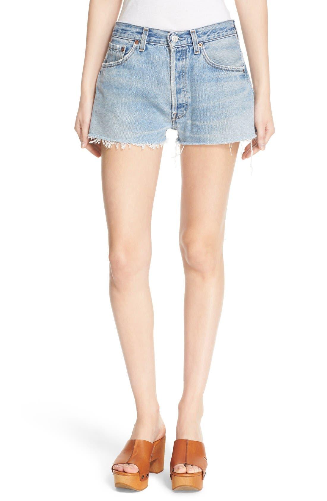 'The Short' Reconstructed Denim Shorts,                         Main,                         color, No Destruction