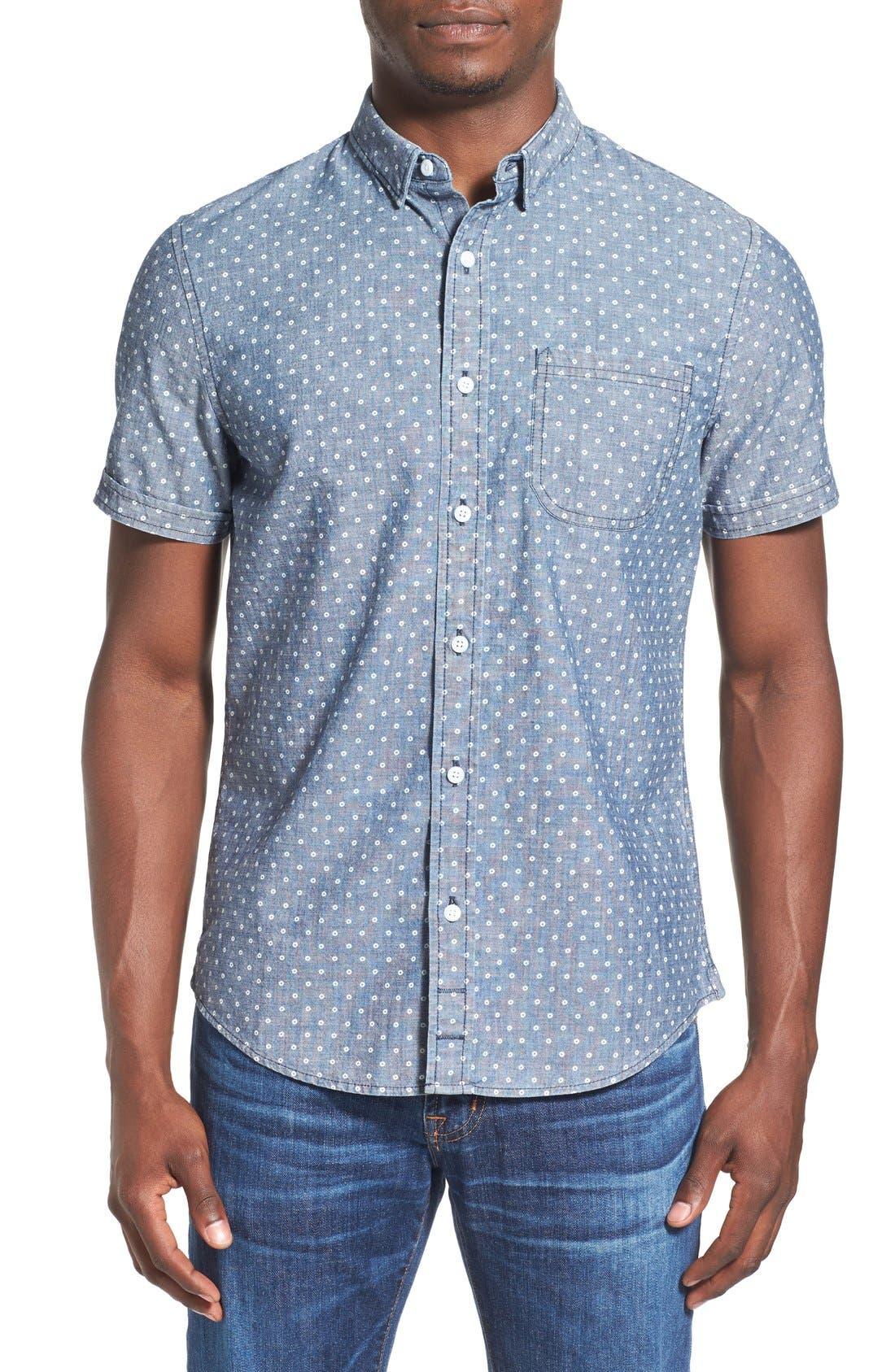 'Whitman' Trim Fit Short Sleeve Dot Print Chambray Shirt,                         Main,                         color, Blue Estate Dot