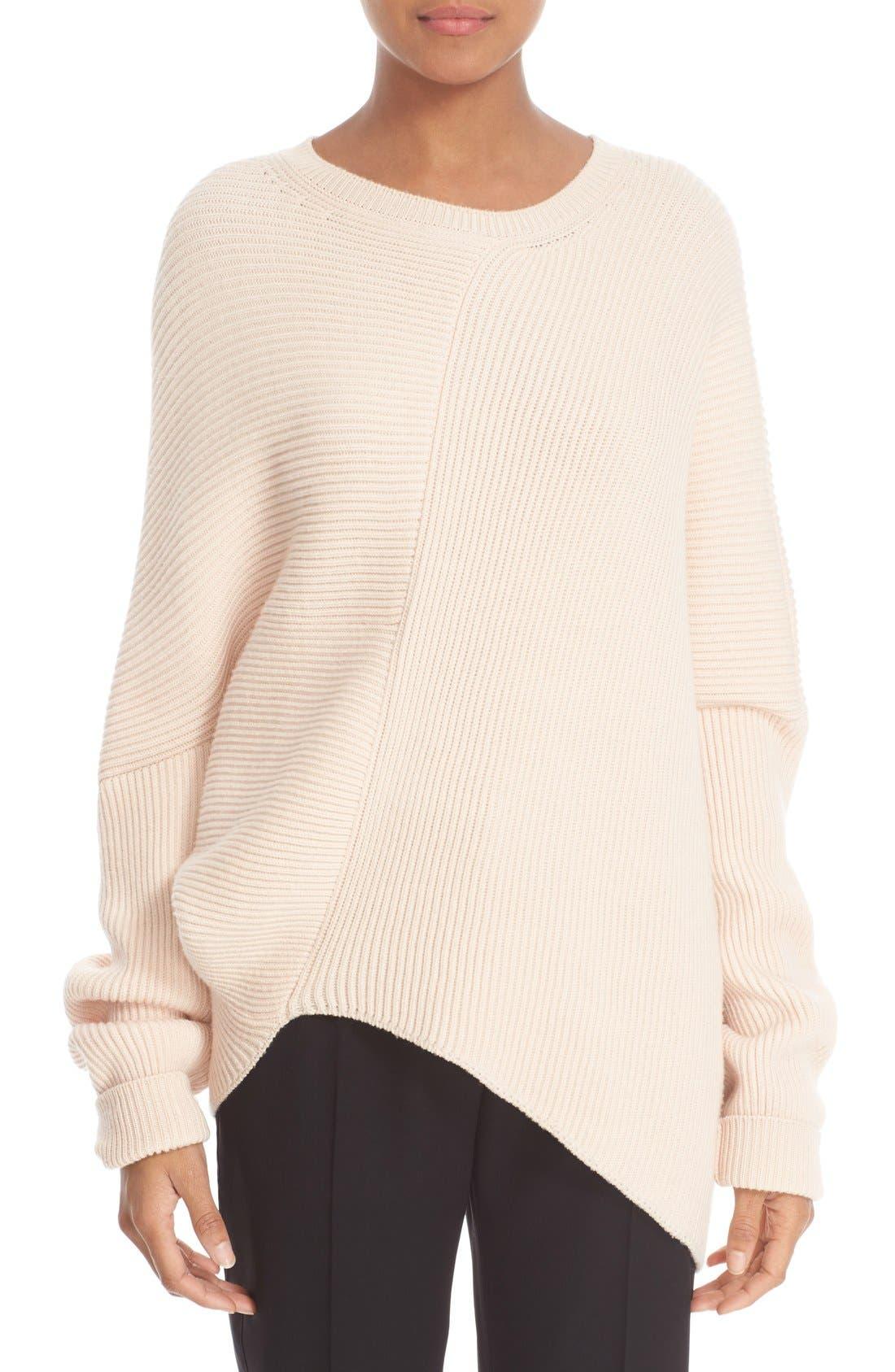 Asymmetrical Wool Sweater,                         Main,                         color, Powder