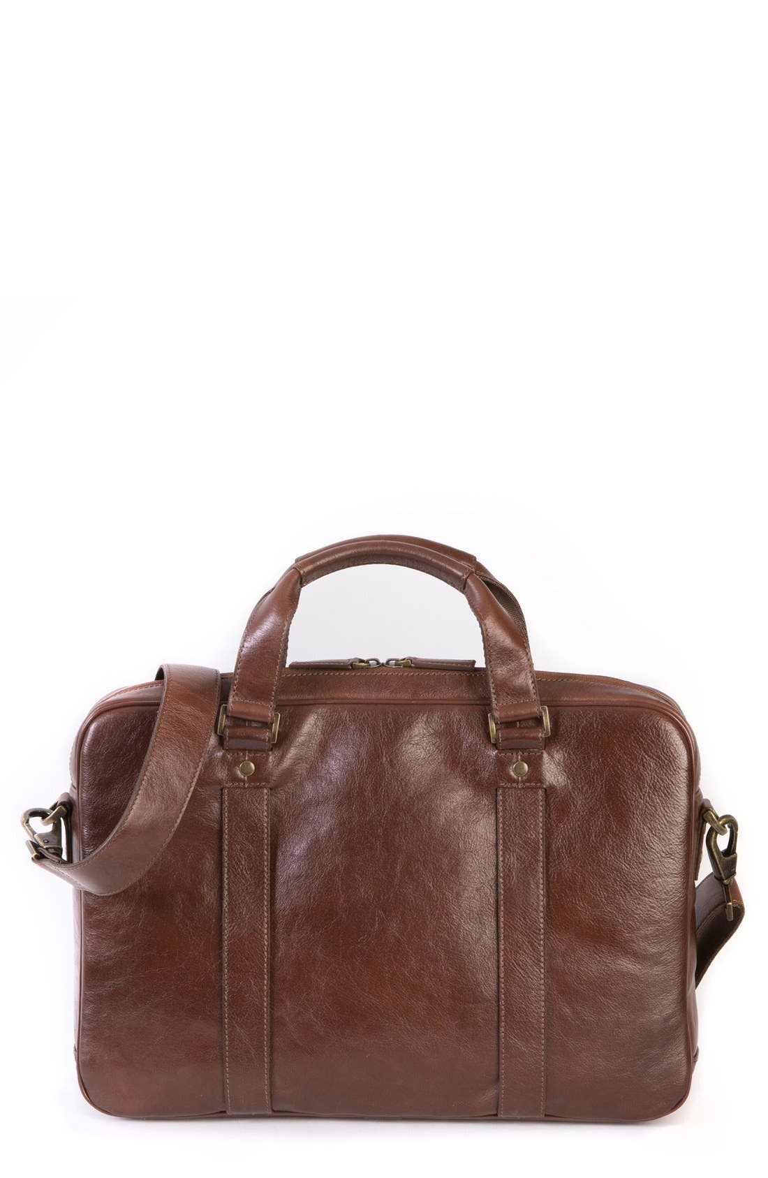 'Becker' Leather Briefcase,                         Main,                         color, Whiskey W/ Khaki