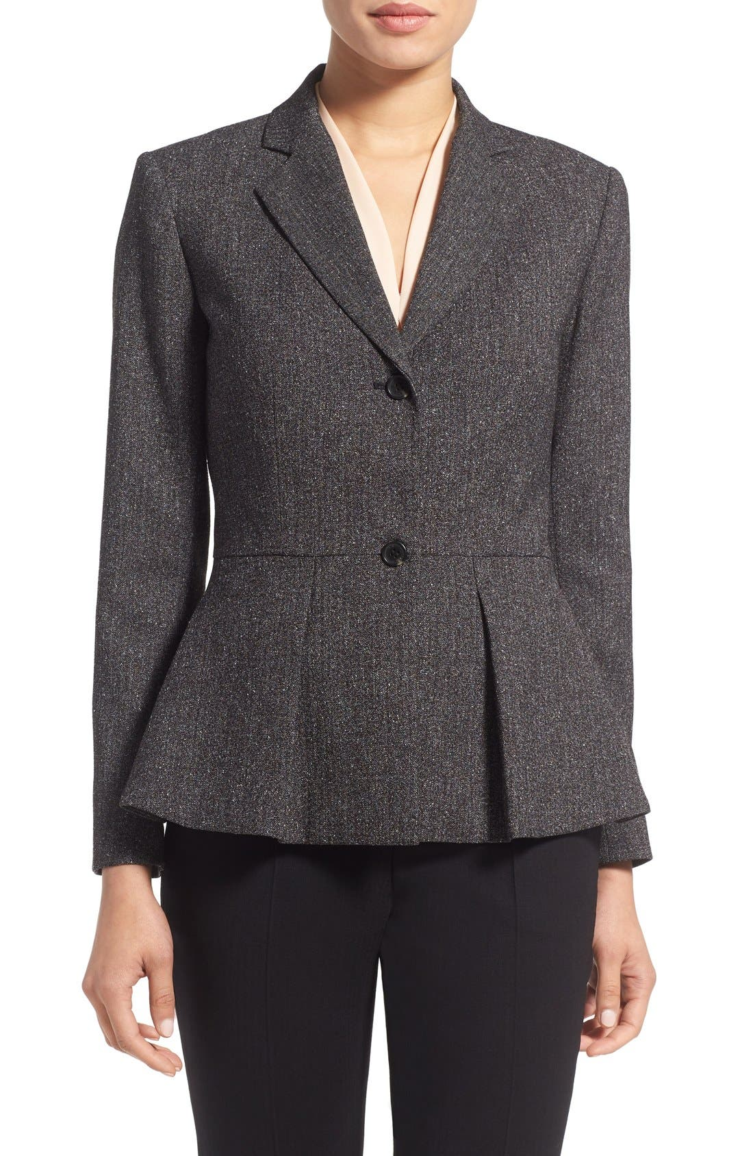 Main Image - Vince Camuto Tweed Peplum Blazer (Regular & Petite)