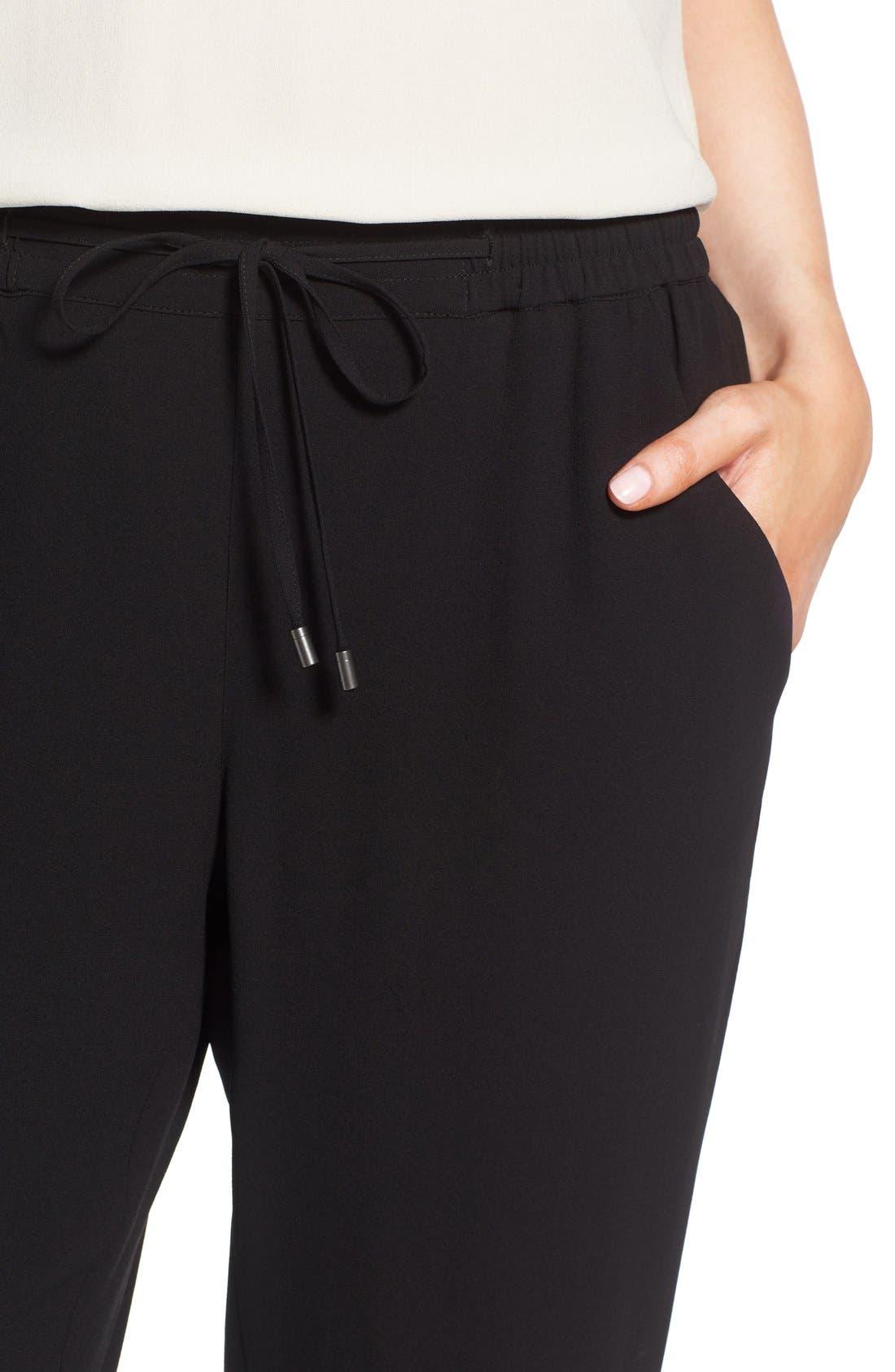 Silk Crepe Ankle Pants,                             Alternate thumbnail 4, color,                             Black