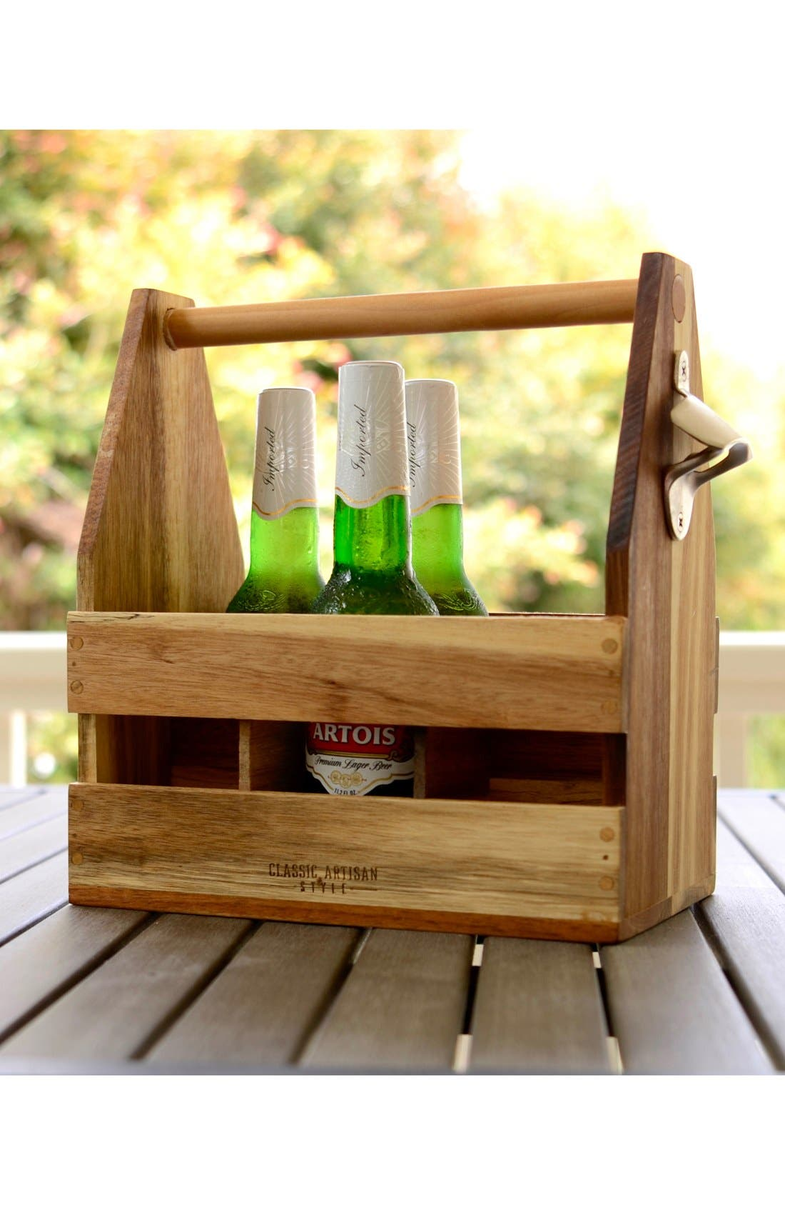 Alternate Image 2  - Classic Artisan Style Wooden Caddy with Bottle Opener