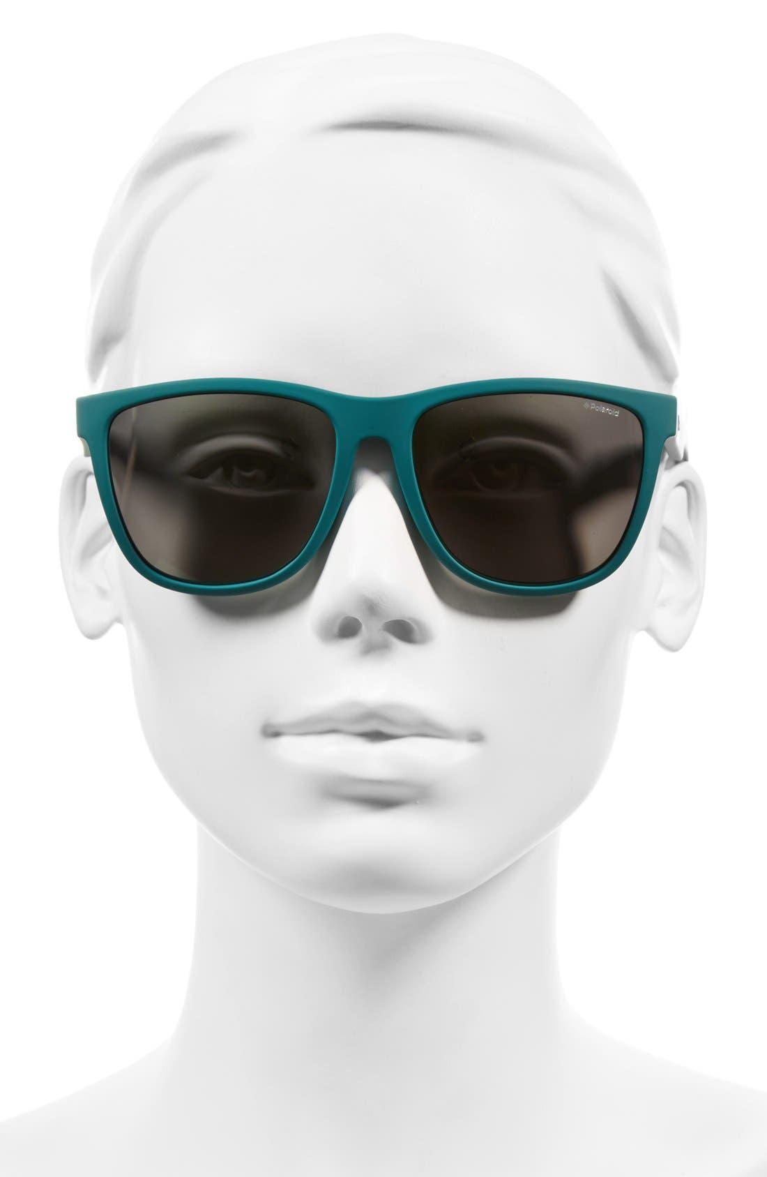56mm Retro Polarized Sunglasses,                             Alternate thumbnail 2, color,                             Green/ Grey Gold Mirror