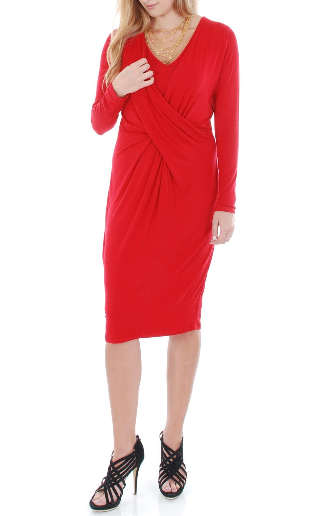 'Sloan' Maternity/Nursing Dress,                             Alternate thumbnail 2, color,                             Crimson