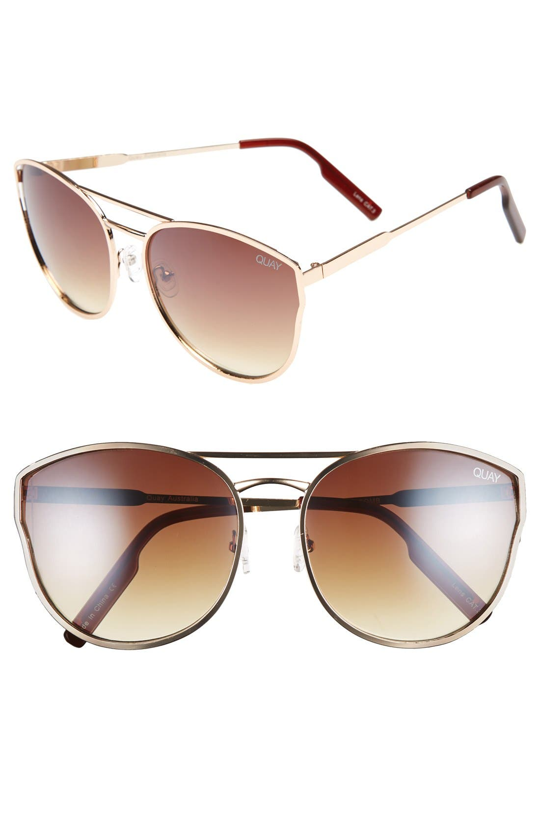 Cherry Bomb 60mm Sunglasses,                             Main thumbnail 1, color,                             Gold/ Silver Mirror