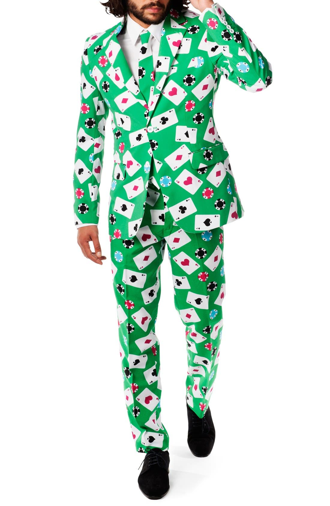 'Poker Face' Trim Fit Suit with Tie,                             Alternate thumbnail 3, color,                             Green
