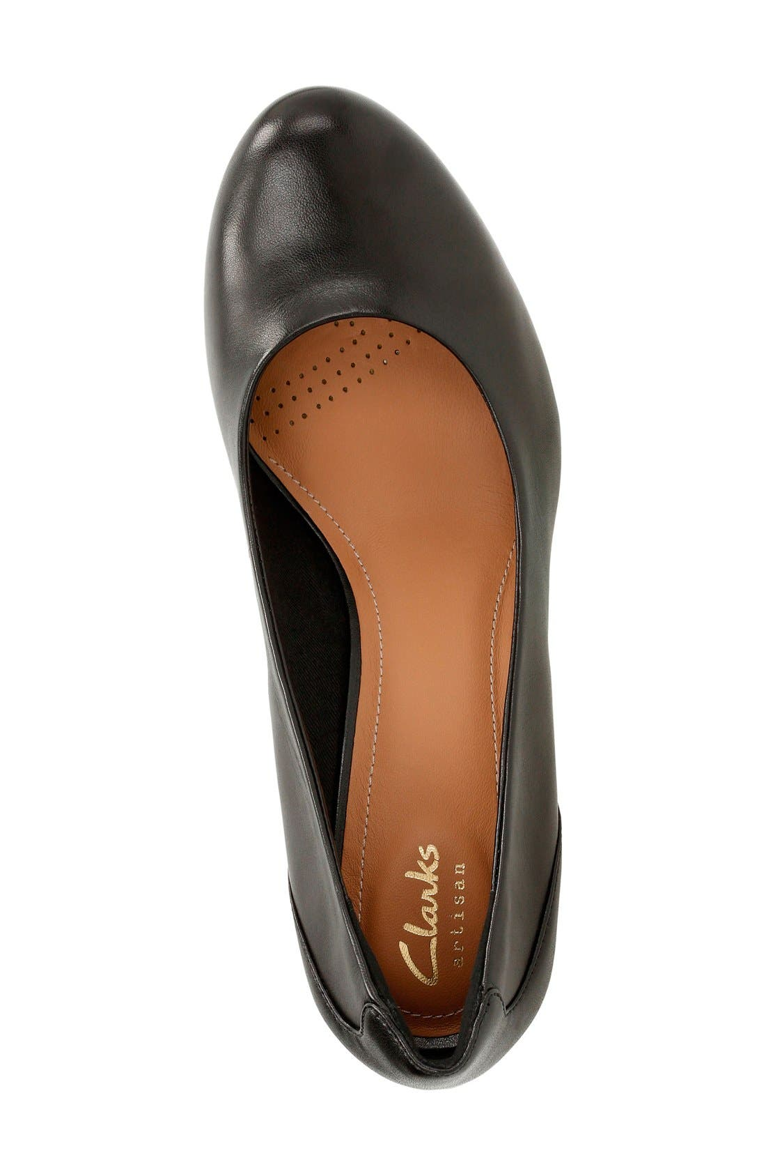 'Chorus Chic' Round Toe Pump,                             Alternate thumbnail 3, color,                             Black Leather