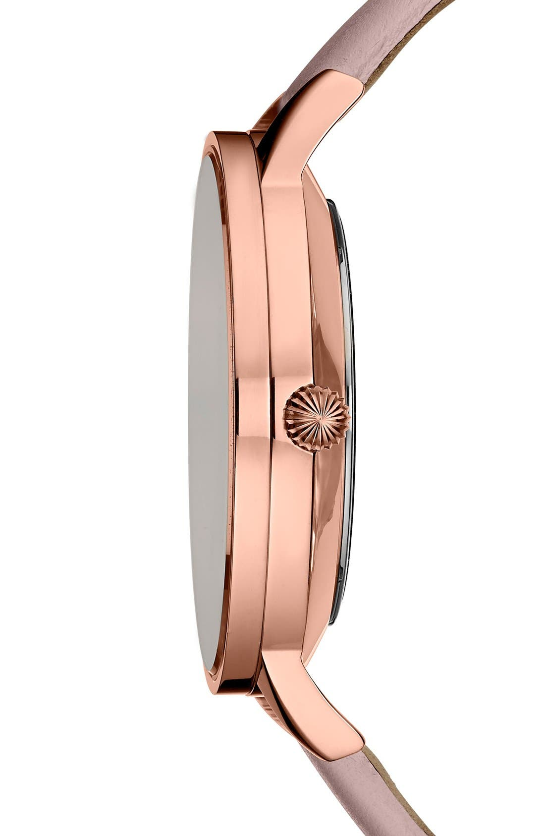 'Dress Sport' Multifunction Leather Strap Watch, 40mm,                             Alternate thumbnail 3, color,                             Pink/ Rose Gold