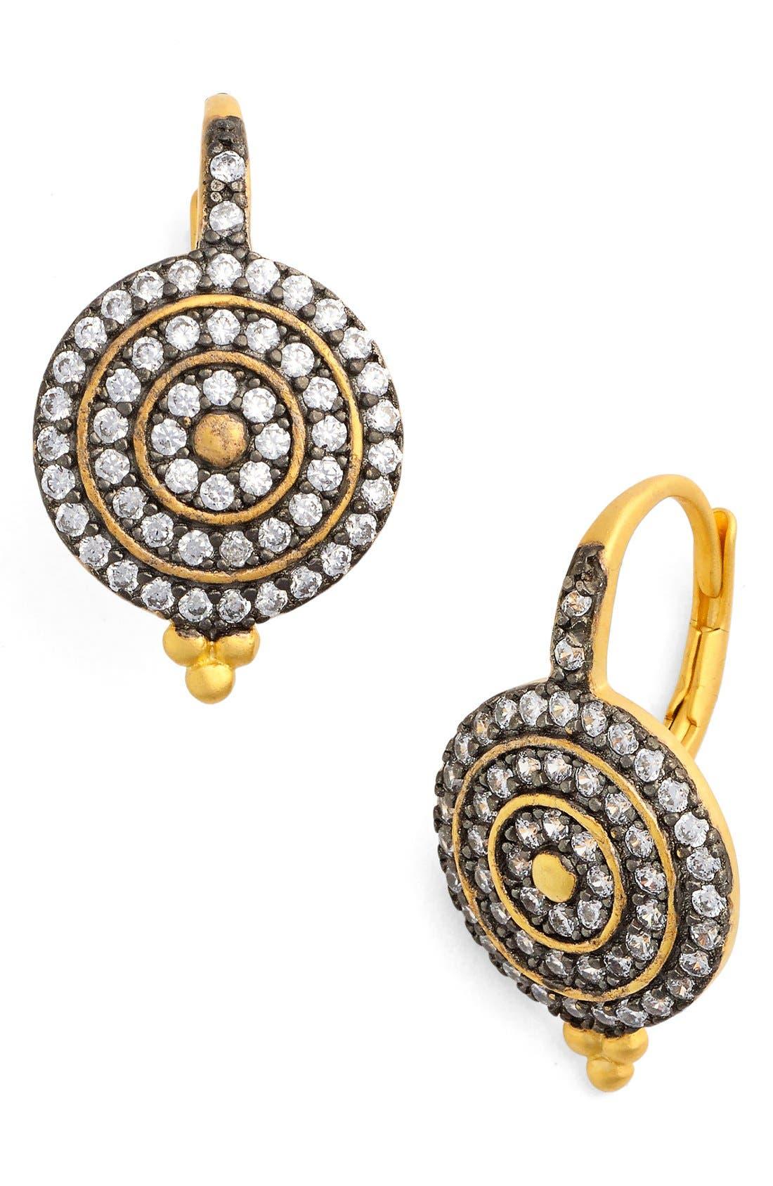 'Etoile' Pavé Disc Drop Earrings,                         Main,                         color, Gold/ Black