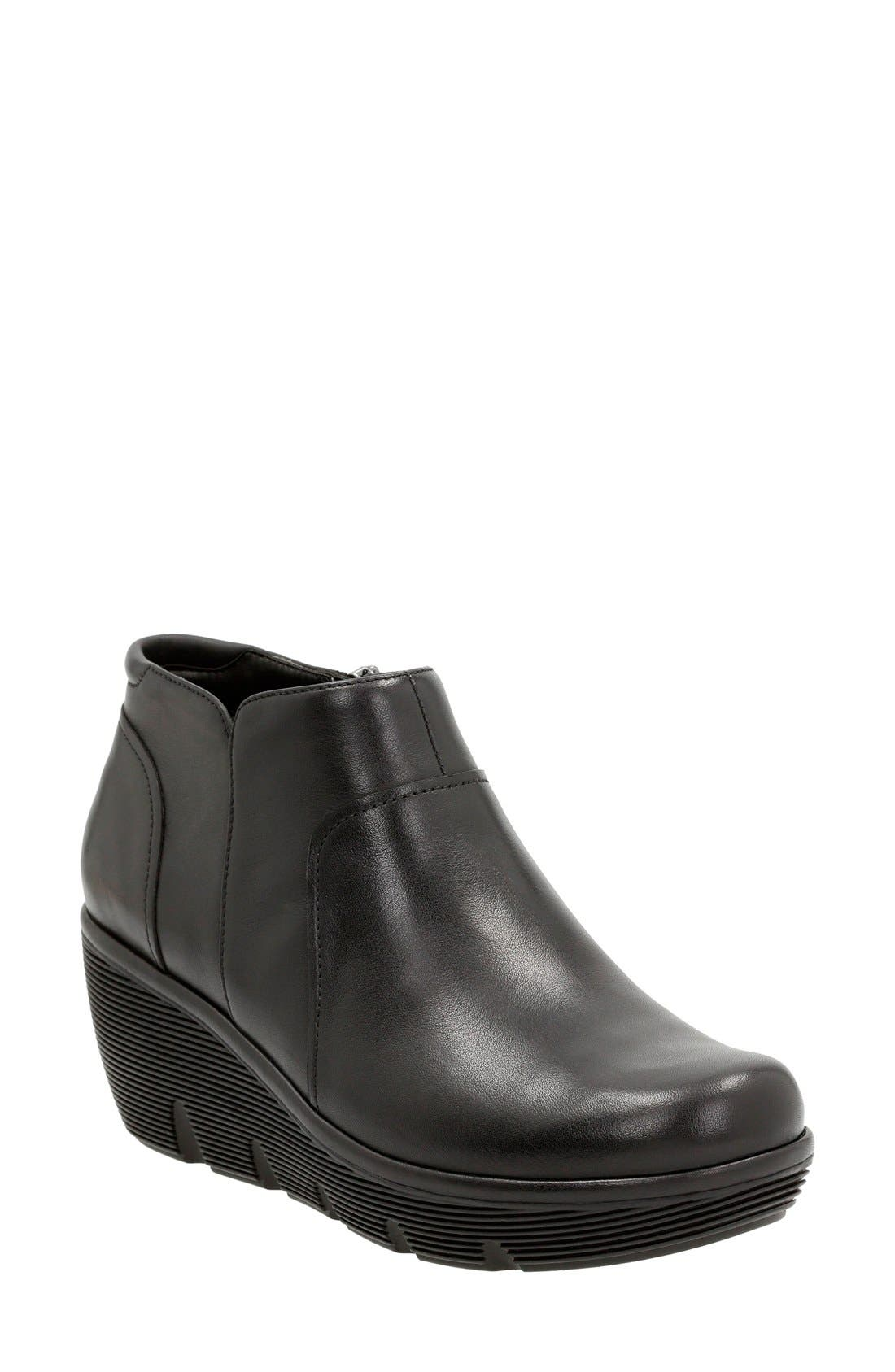 'Clarene Sun' Wedge Boot,                             Main thumbnail 1, color,                             Black Leather