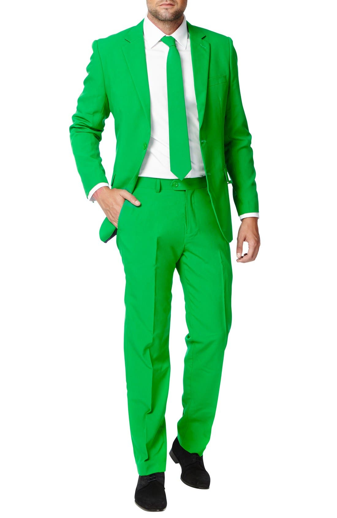 'Evergreen' Trim Fit Suit with Tie,                         Main,                         color, Green