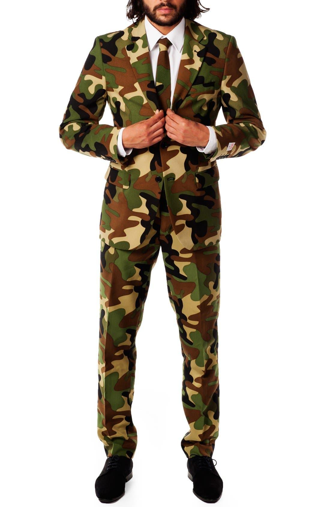 'Commando' Trim Fit Two-Piece Suit with Tie,                         Main,                         color, Camo