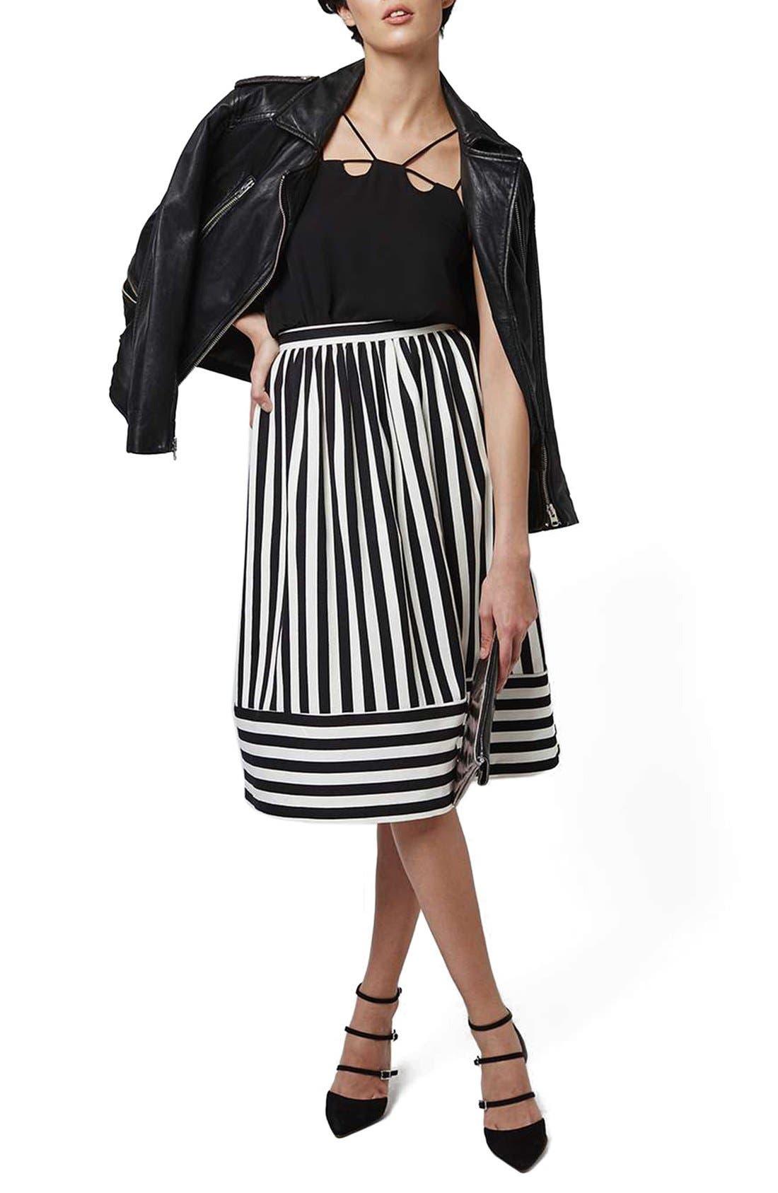 Alternate Image 2  - Topshop Horizontal Hem Stripe A-Line Midi Skirt