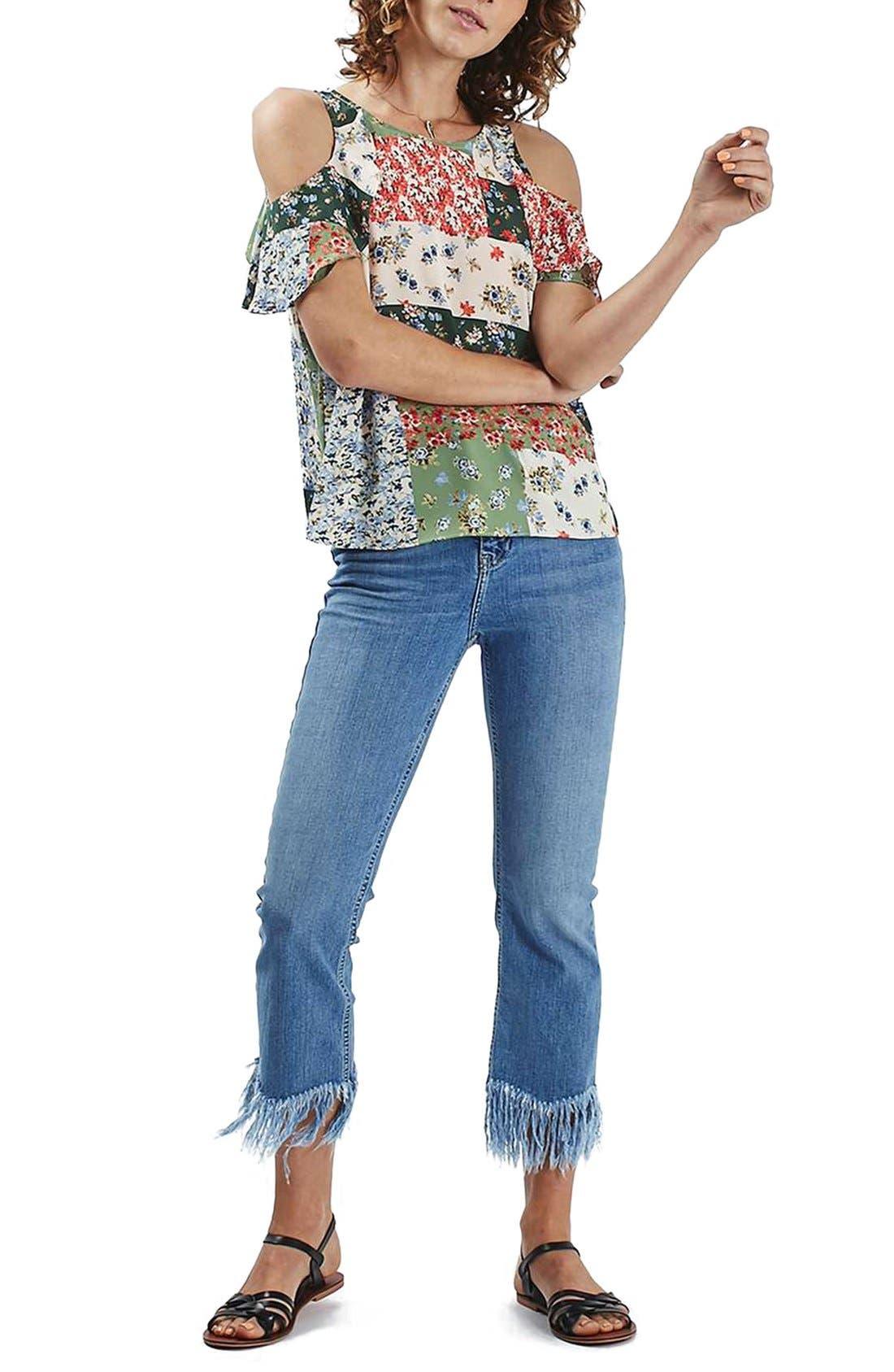 Alternate Image 1 Selected - Topshop Patchwork Floral Ruffle Cold Shoulder Blouse