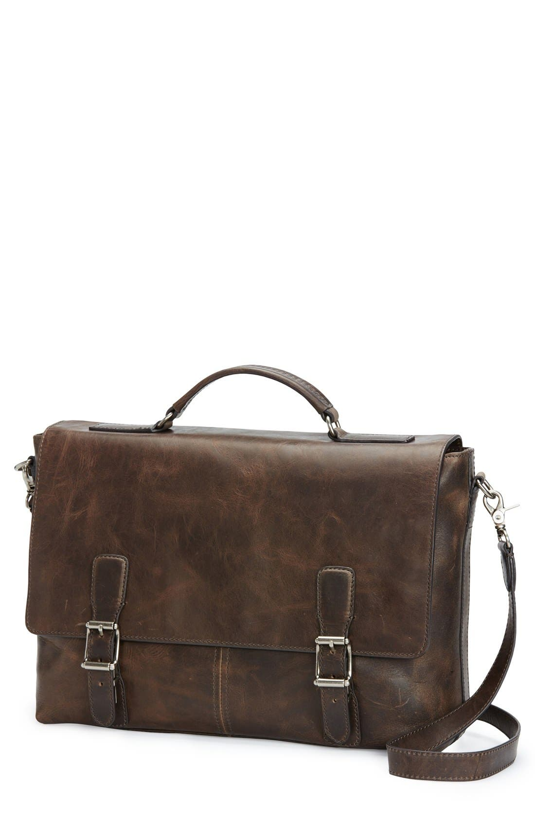 'LOGAN' LEATHER BRIEFCASE - BROWN