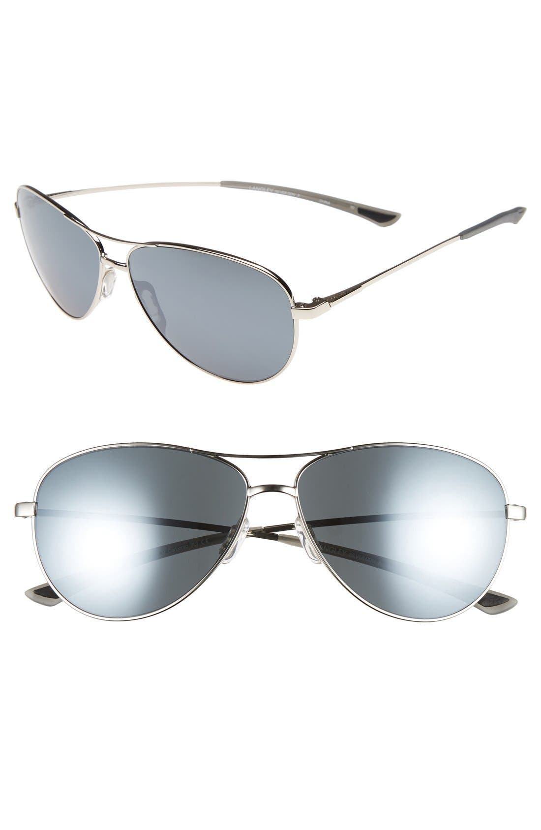 'LANGLEY' 60MM AVIATOR SUNGLASSES - SILVER