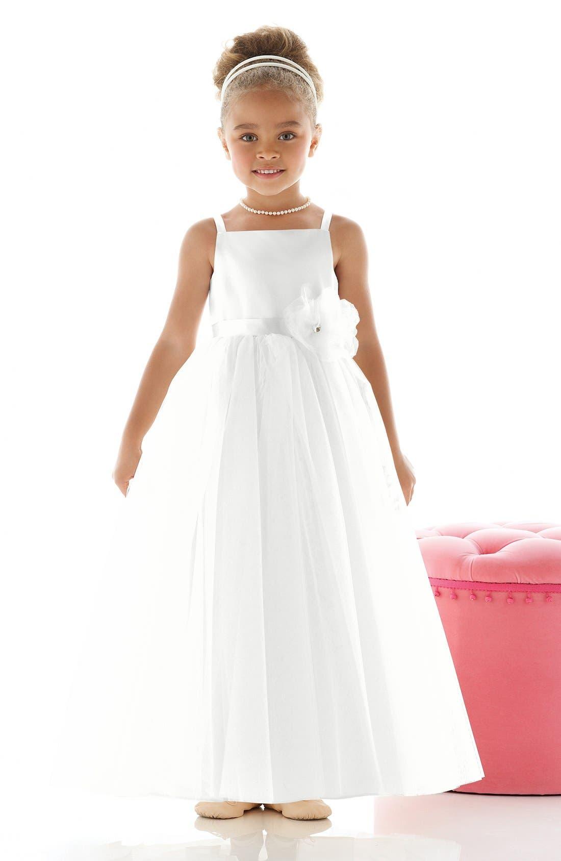 'Rose' Satin & Tulle Flower Girl Dress,                         Main,                         color, White