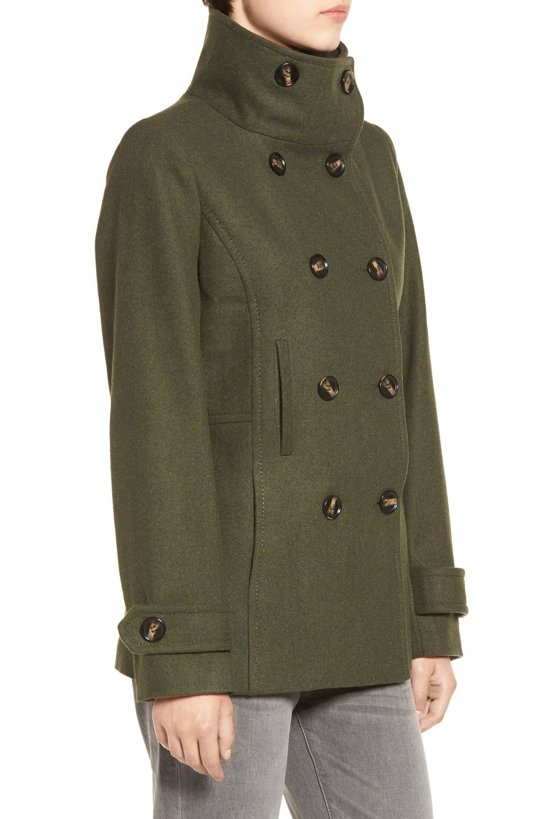 Double Breasted Peacoat,                             Alternate thumbnail 3, color,                             Hunter Green