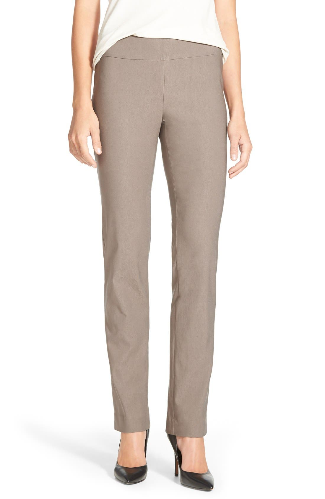 'The Wonder Stretch' Straight Leg Pants,                         Main,                         color, Mushroom