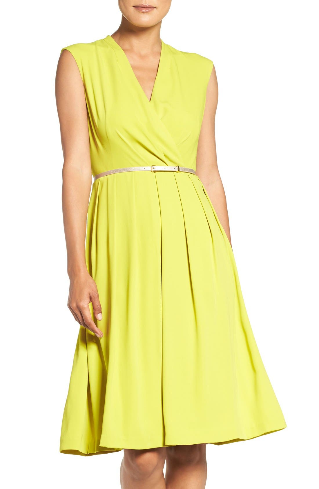 Main Image - Ellen Tracy Belted Woven Fit & Flare Dress (Regular & Petite)