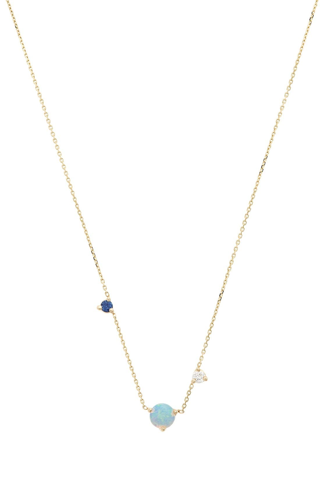 WWAKE Counting Collection - Three-Step Opal, Sapphire & Diamond Necklace