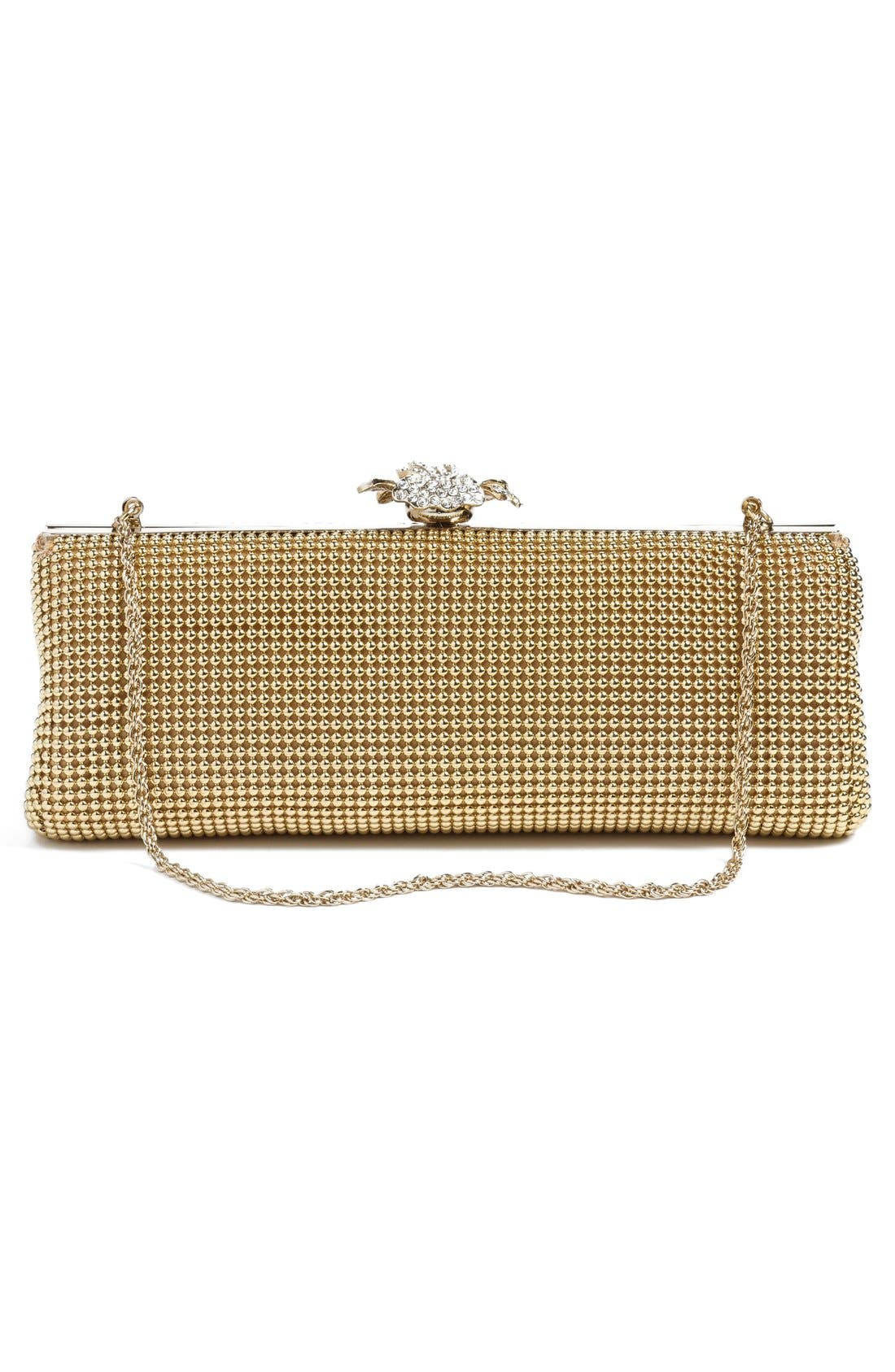 Alternate Image 3  - Whiting & Davis 'Crystal Flower' Metal Mesh Clutch