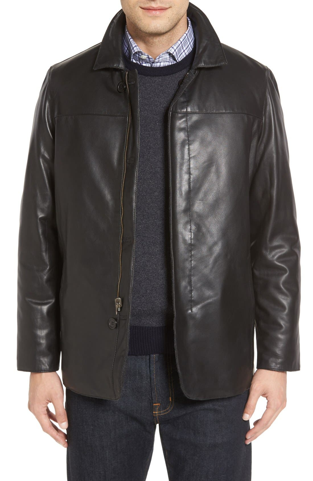 Reversible Lambskin Leather & Quilted Wool Jacket,                         Main,                         color, Black
