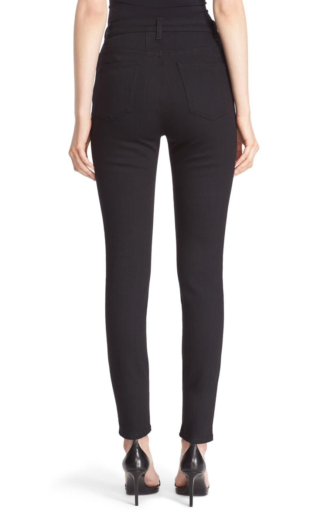 High Rise Skinny Jeans,                             Alternate thumbnail 2, color,                             Black