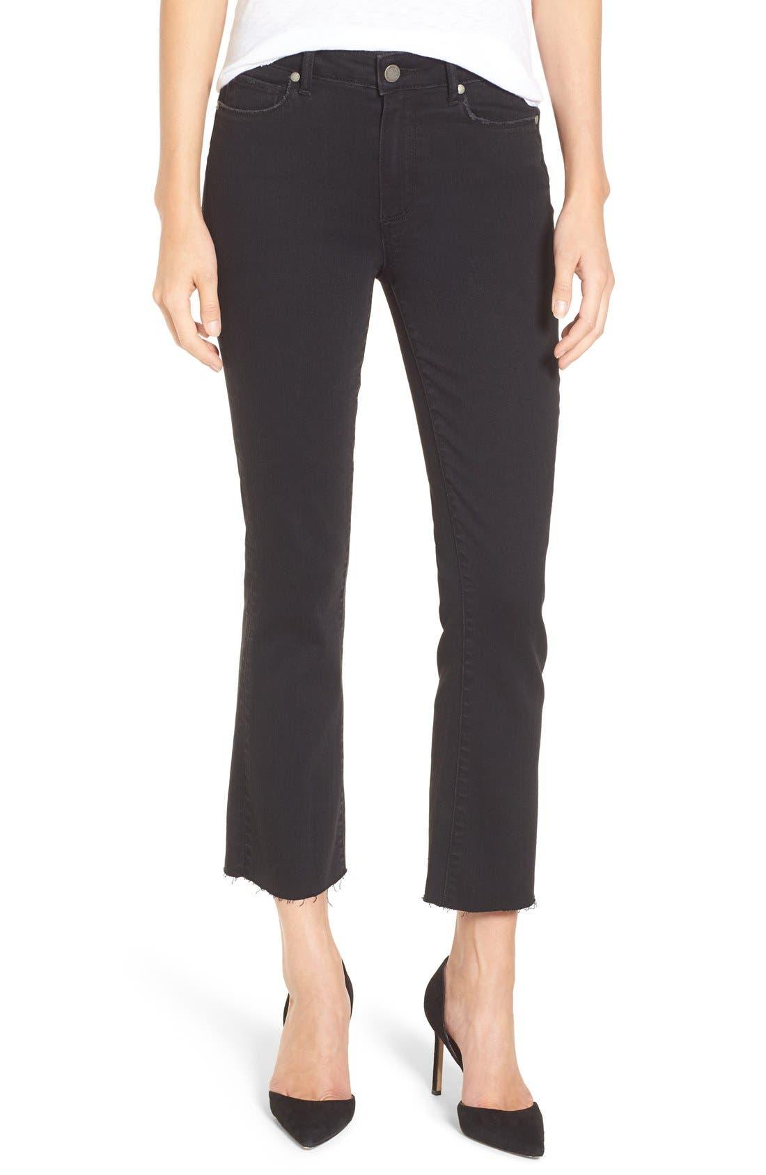 PAIGE Colette High Waist Raw Hem Crop Flare Jeans (Vintage Black)