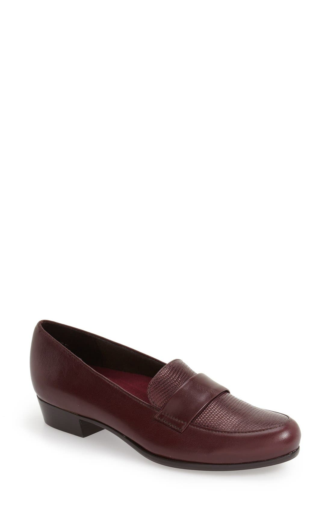 'Kiera' Loafer,                             Main thumbnail 1, color,                             Wine Lizard Print Leather