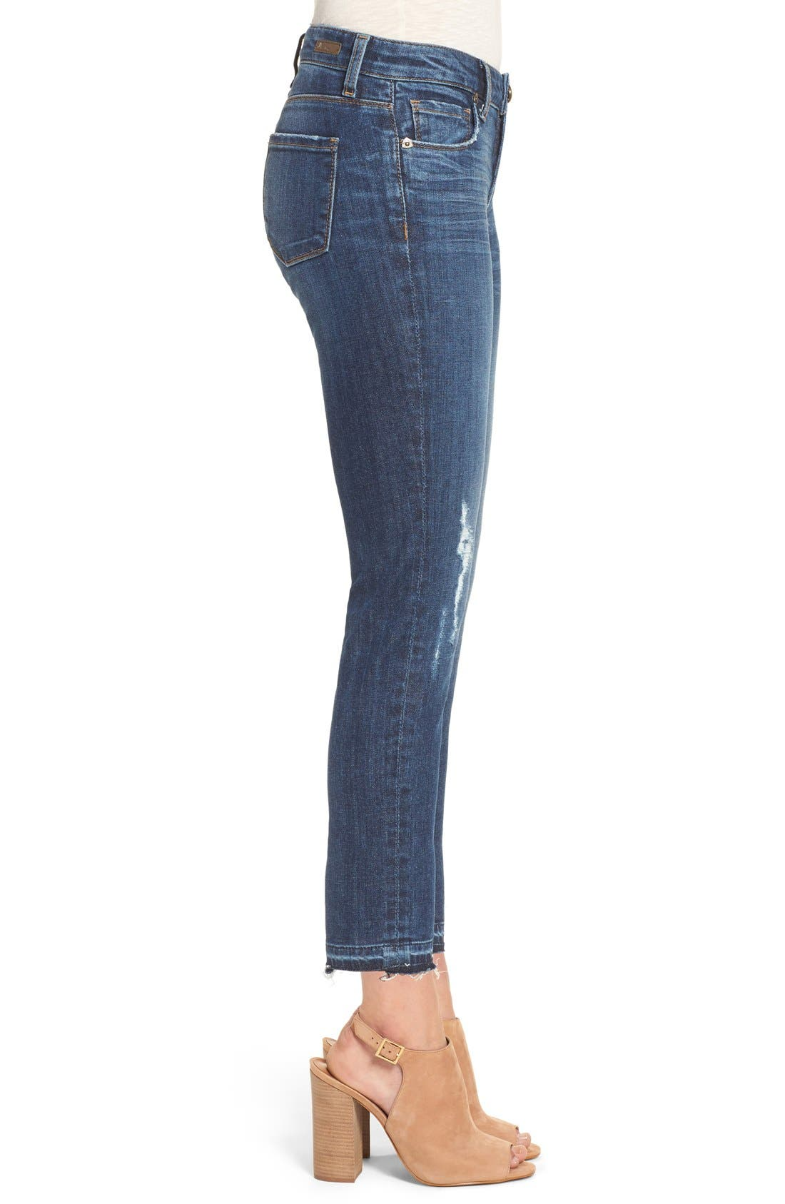 Alternate Image 4  - KUT from the Kloth 'Reese' Distressed Stretch Straight Leg Ankle Jeans (Capability) (Regular & Petite)