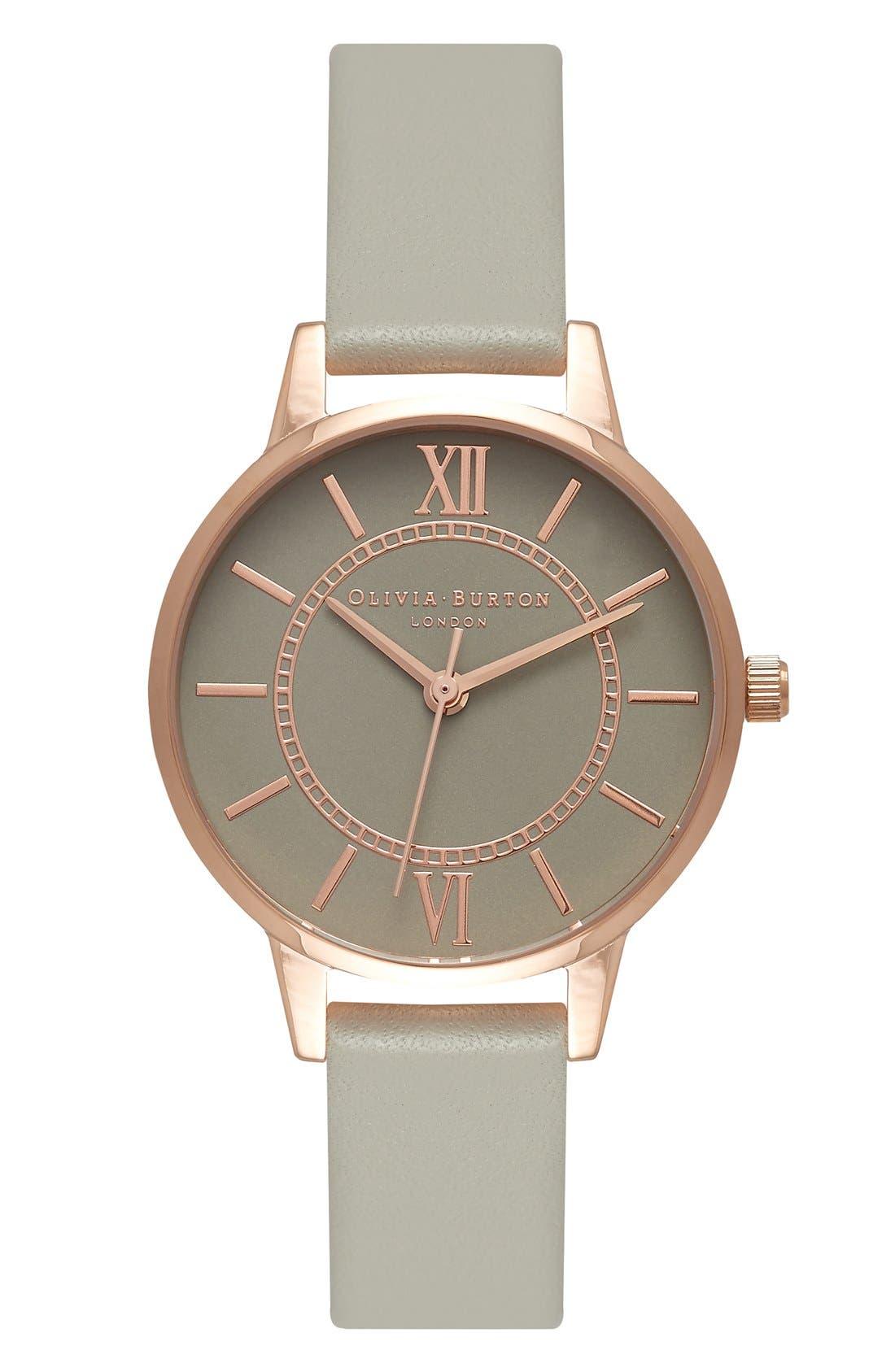 Alternate Image 1 Selected - Olivia Burton 'Wonderland' Leather Strap Watch, 30mm
