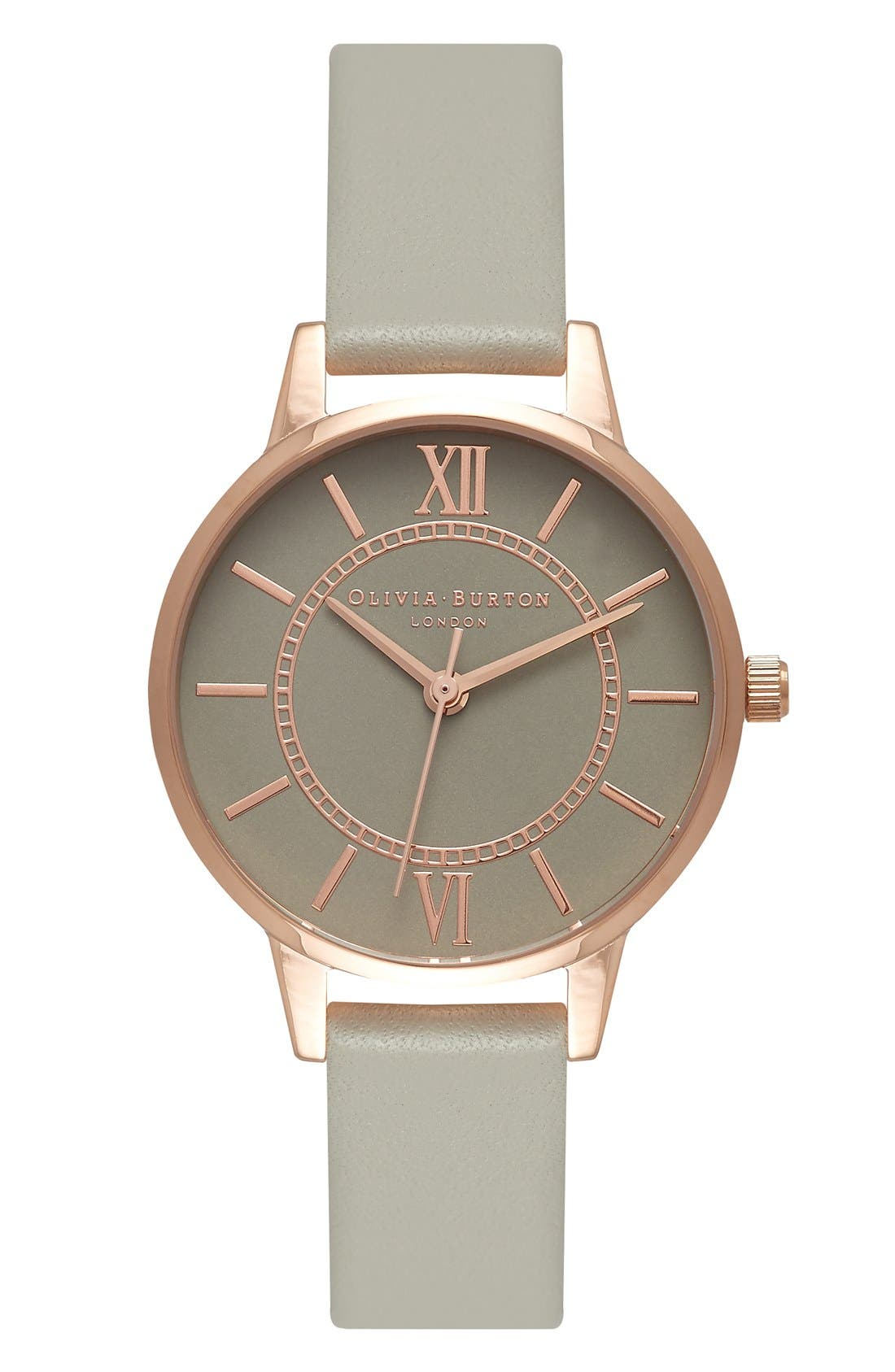 'Wonderland' Leather Strap Watch, 30mm,                         Main,                         color, Grey/ White