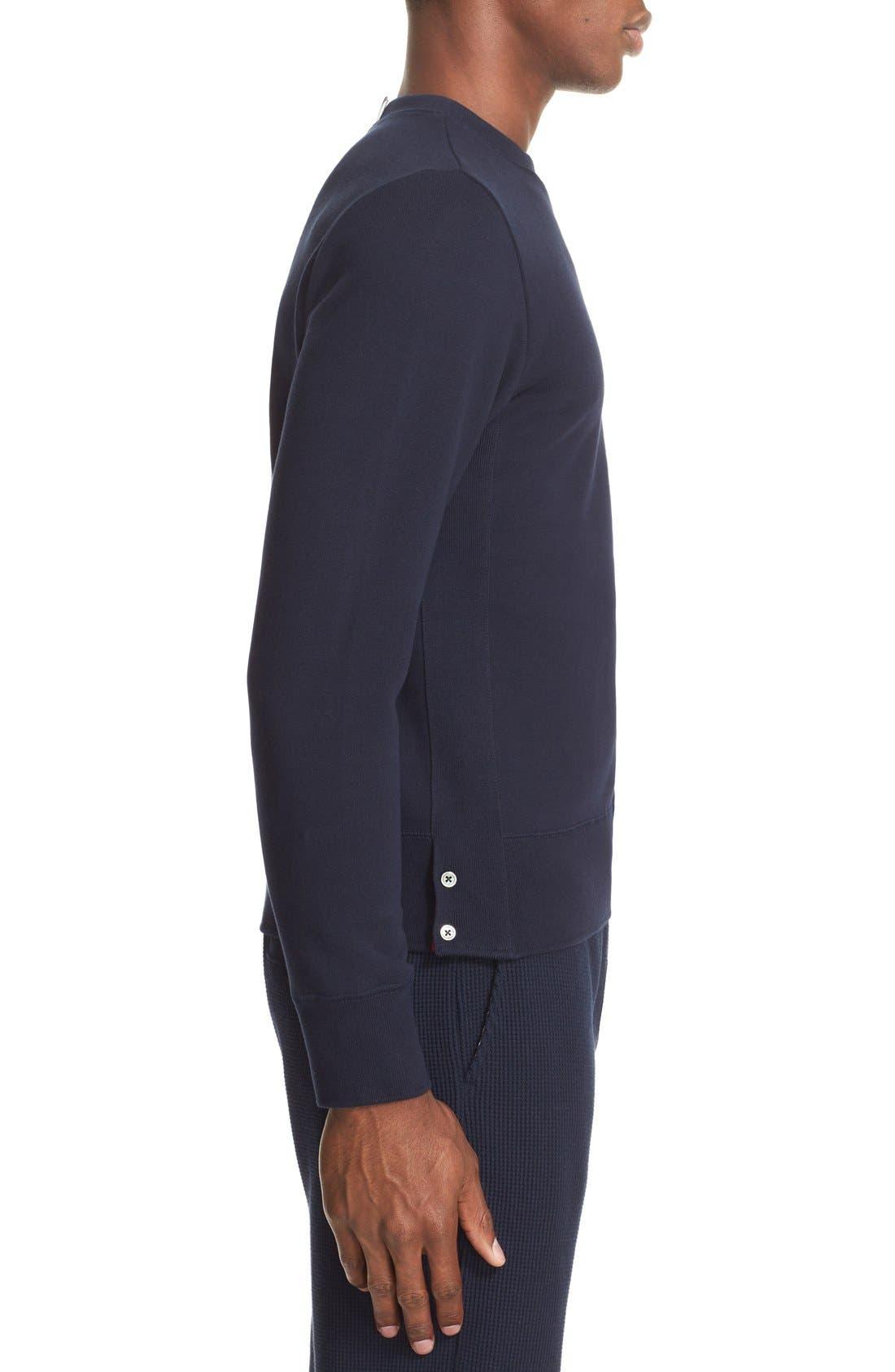 Stripe Sleeve Sweatshirt,                             Alternate thumbnail 3, color,                             Navy/ Optic White
