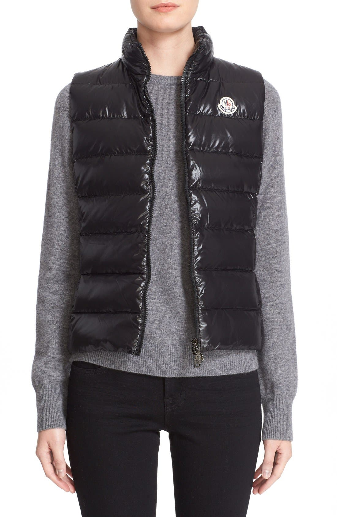 Main Image - Moncler Ghany Water Resistant Shiny Nylon Down Puffer Vest