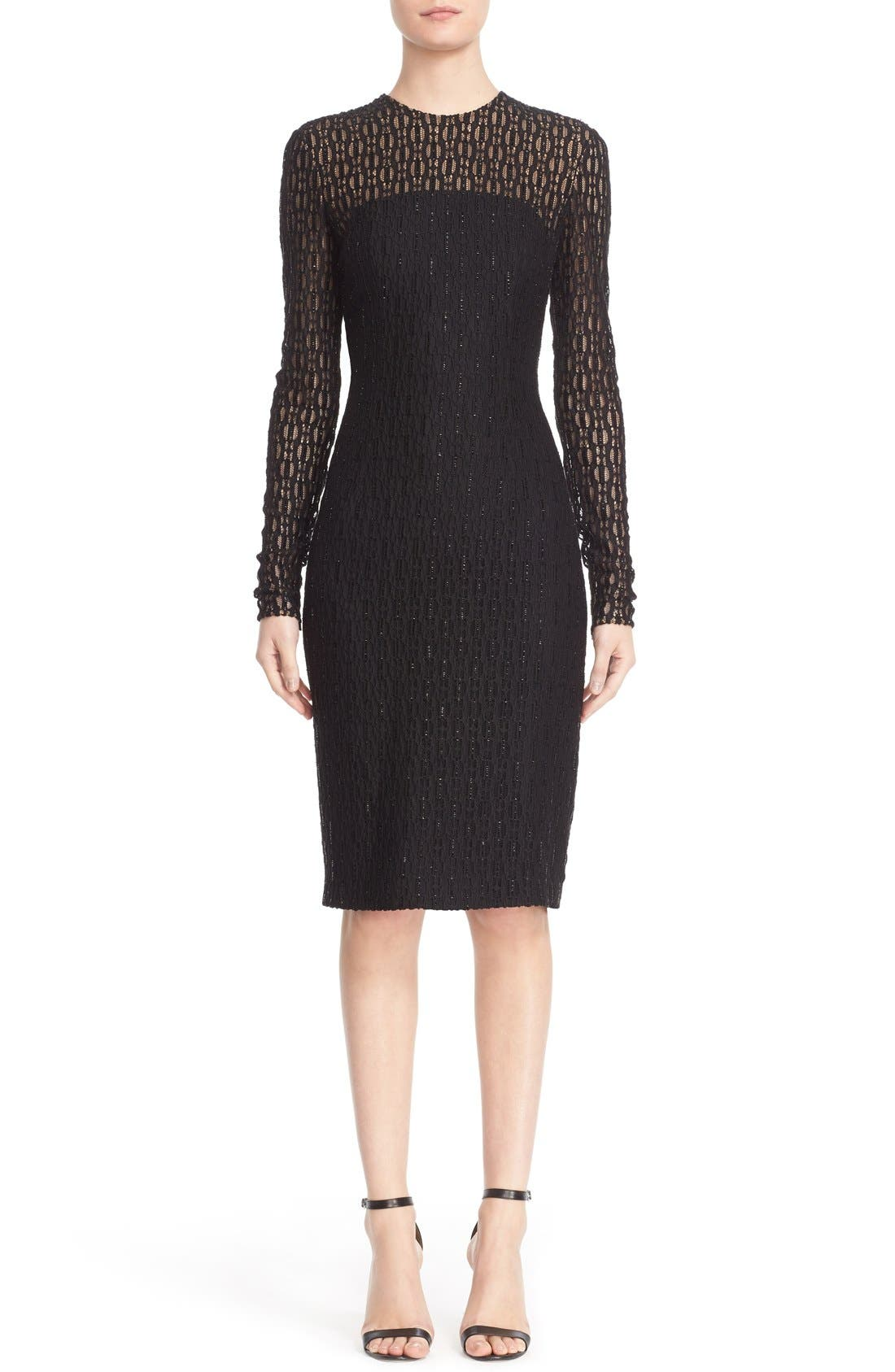Carmen Marc Valvo Couture Embellished Illusion Lace Knit Sheath Dress