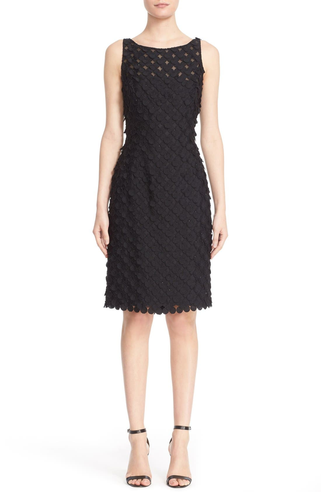 Carmen Marc Valvo Couture Circle Appliqué Sleeveless Sheath Dress