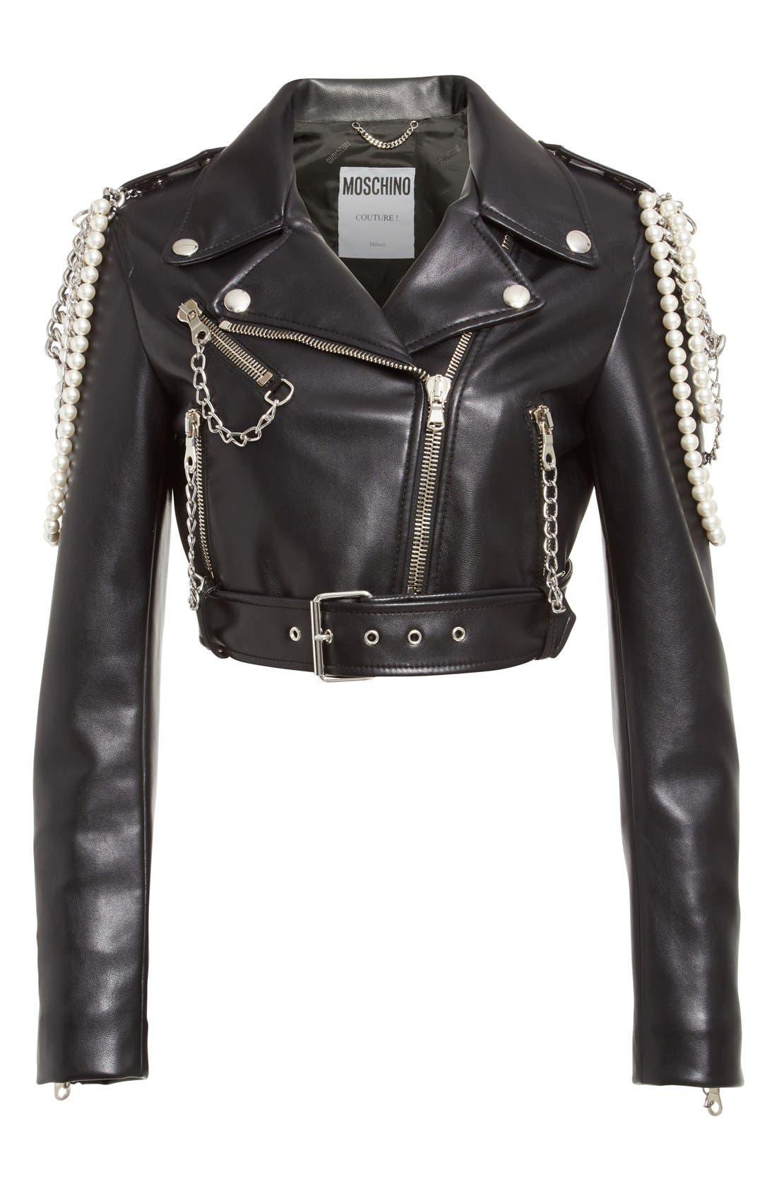Alternate Image 4  - Moschino Chain & Imitation Pearl Embellished Faux Leather Jacket