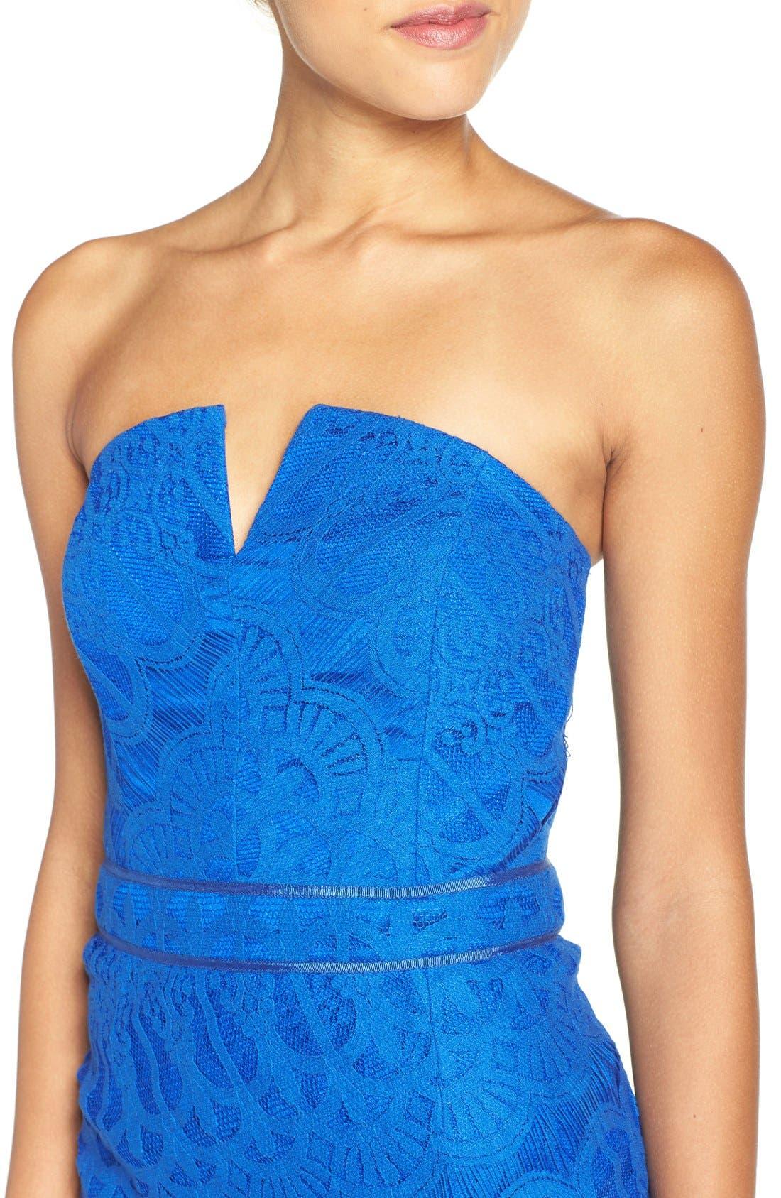 Strapless Lace Dress,                             Alternate thumbnail 4, color,                             Cobalt