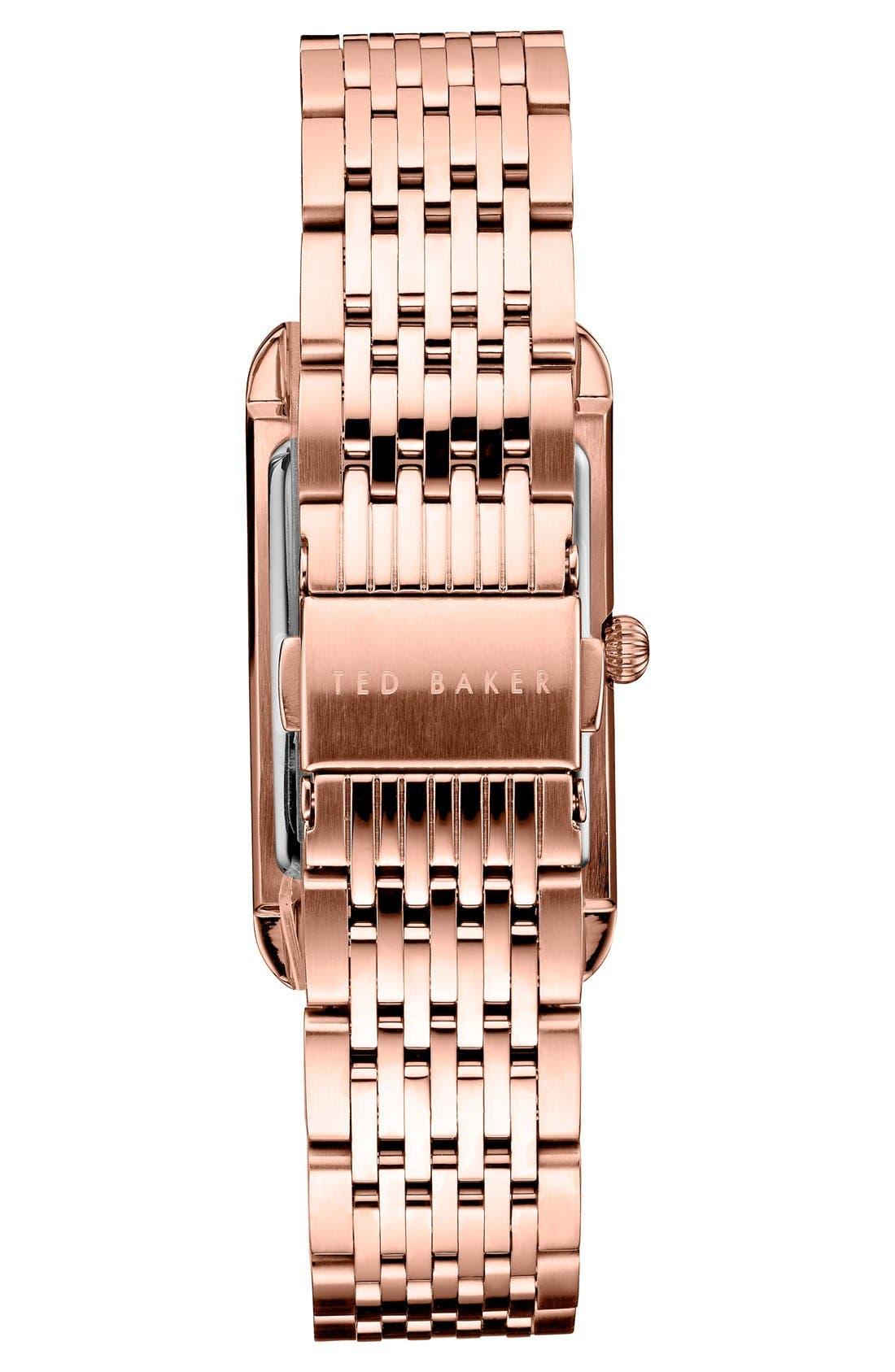Rectangle Case Bracelet Watch, 23mm,                             Alternate thumbnail 2, color,                             Rose Gold