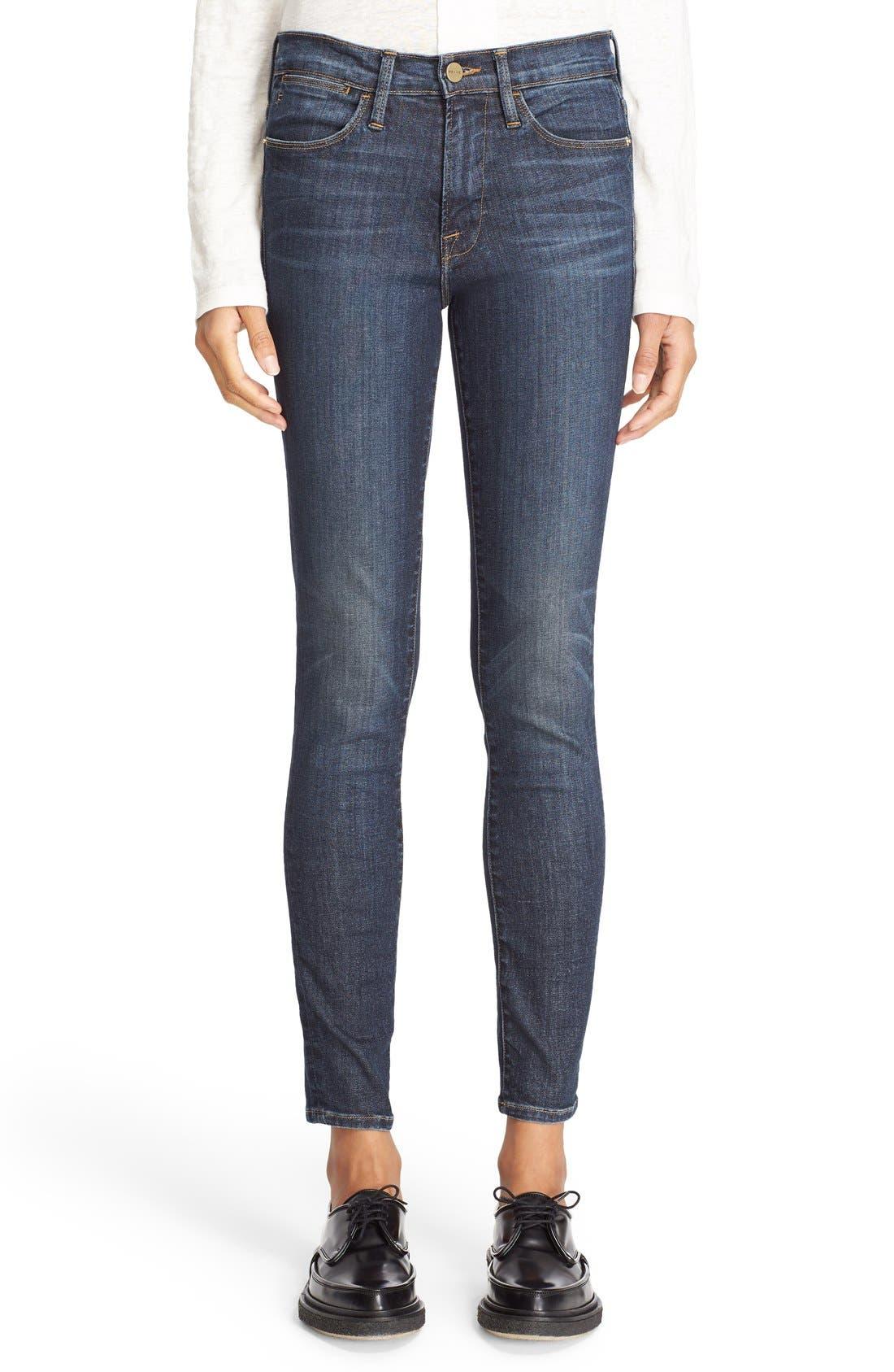 FRAME Le High Skinny High Waist Crop Jeans (Harvard)   Nordstrom