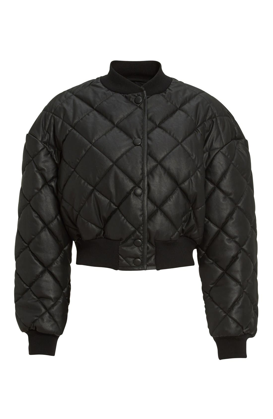 Crop Quilted Puffer Jacket,                             Alternate thumbnail 4, color,                             Black